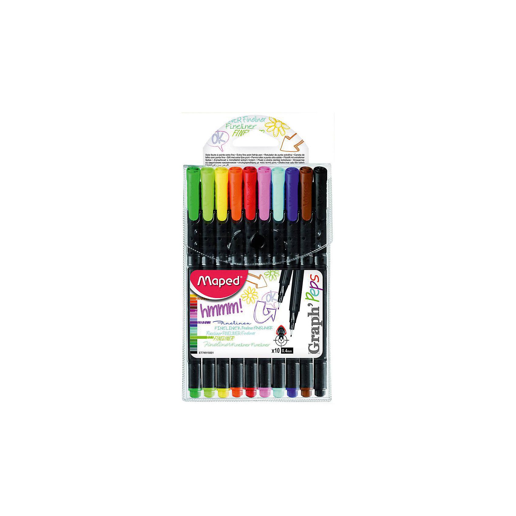 Набор ручек Graph peps, 0,4 мм, 10 цв.Письменные принадлежности<br>Набор ручек Graph peps, 0,4 мм, 10 цв., Maped (Мапед)<br><br>Характеристики:<br><br>• насыщенные цвета<br>• трехгранный корпус<br>• толщина линии: 0,4 мм<br>• материал: пластик, металл<br>• в комплекте: ручки 10 цветов (зеленый, салатовый, желтый, оранжевый, красный, розовый, голубой, синий, коричневый, черный)<br>• размер упаковки: 16,5х10,2х1,5 см<br><br>Graph Peps - набор уникальных ручек, с помощью которых ваш ребенок сможет создать четкие и ровные линии ярких цветов. Толщина линии каждой ручки: 0,4 мм. Ручки имеют удобную форму корпуса - конус. Это позволит обеспечить правильный захват при письме. Ручки Graph Peps подходят и для письма, и для рисования.<br><br>Набор ручек Graph peps, 0,4 мм, 10 цв., Maped (Мапед) вы можете купить в нашем интернет-магазине.<br><br>Ширина мм: 15<br>Глубина мм: 165<br>Высота мм: 102<br>Вес г: 78<br>Возраст от месяцев: 36<br>Возраст до месяцев: 84<br>Пол: Унисекс<br>Возраст: Детский<br>SKU: 4782509
