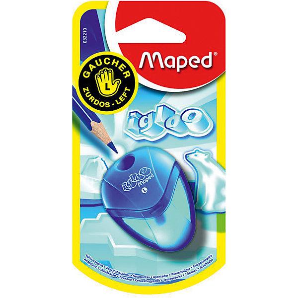 Точилка для левшей I-glooТовары для левшей<br>Точилка для левшей I-gloo, Maped (Мапед)<br><br>Характеристики:<br><br>• предназначена для левшей<br>• есть контейнер для мусора<br>• количество отделений: 1<br>• материал: пластик, металл<br>• размер точилки: 5,5х4х1,5 см<br>• размер упаковки: 12,5х6,5х2,6 см<br>• вес: 12 грамм<br><br>Точилка I-gloo предназначена специально для удобства левшей. Точилка имеет одно отверстие со стальным лезвием для заточки карандашей стандартного размера. Контейнер для мусора поможет поддерживать чистоту при использовании точилки. Точилка I-gloo станет незаменимым помощником для вашего ребенка!<br><br>Точилку для левшей I-gloo, Maped (Мапед) вы можете купить в нашем интернет-магазине.<br>Ширина мм: 26; Глубина мм: 65; Высота мм: 125; Вес г: 78; Возраст от месяцев: 36; Возраст до месяцев: 84; Пол: Унисекс; Возраст: Детский; SKU: 4782510;