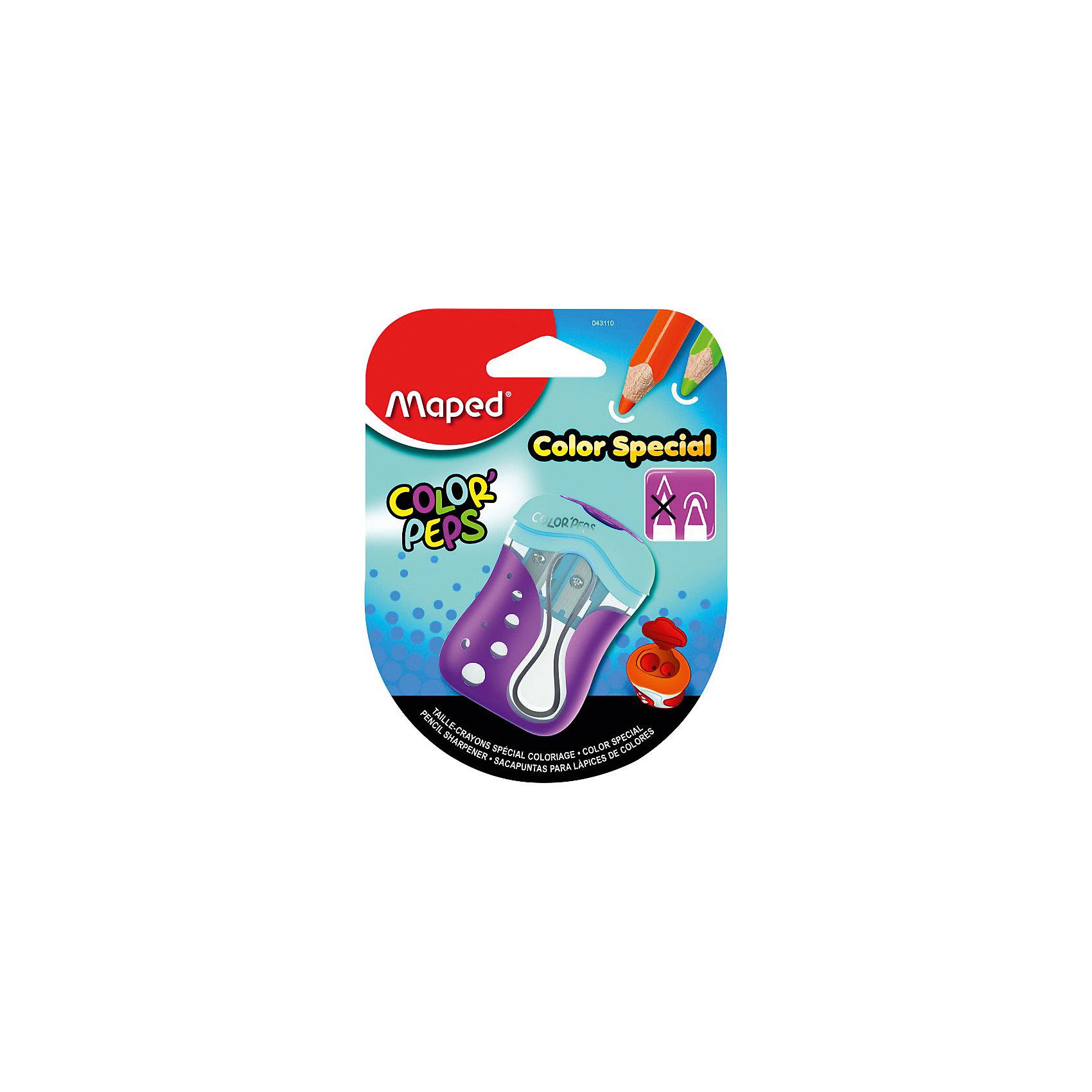 Точилка Color pepsПисьменные принадлежности<br>Точилка Color peps, Maped (Мапед)<br><br>Характеристики:<br><br>• 2 отверстия для карандашей разных размеров<br>• оставляет закругленный грифель карандашей<br>• есть контейнер для мусора<br>• привлекательный дизайн<br>• материал: пластик, металл<br>• размер упаковки: 9,5х3,4х12,5 см<br><br>Точилка Color Peps порадует вас своей функциональностью. Она способна заточить карандаши и даже мелки разных размеров. Оба отверстия со стальными лезвиями можно закрыть крышкой после использования. Точилка оставляет кончик грифеля закругленным, благодаря чему ребенок не сможет пораниться в процессе рисования. Вместительный контейнер для мусора не даст стружке упасть и обеспечит чистоту.<br><br>Точилку Color peps, Maped (Мапед) вы можете купить в нашем интернет-магазине.<br><br>Ширина мм: 125<br>Глубина мм: 34<br>Высота мм: 95<br>Вес г: 23<br>Возраст от месяцев: 36<br>Возраст до месяцев: 84<br>Пол: Унисекс<br>Возраст: Детский<br>SKU: 4782512