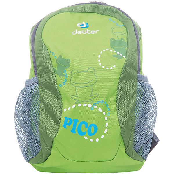 Deuter Рюкзак детский Pico, зеленыйДорожные сумки и чемоданы<br>Рюкзак Pico, зеленый, Deuter (Дойтер)<br><br>Характеристики:<br><br>• регулируемые лямки <br>• нагрудный ремень<br>• удобная ручка<br>• мягкая спинка<br>• два сетчатых боковых кармана<br>• количество отделений: 1<br>• тип застежки: молния<br>• размер: 28х19х12 см<br>• вес: 200 грамм<br>• материал: нейлон<br>• объем: 5 л<br>• цвет: зеленый<br>• рисунок: лягушка<br><br>Детский рюкзак Pico станет незаменимым помощником ребенка во время прогулок. Рюкзак имеет одно вместительное отделение на молнии и 2 сетчатых кармана по бокам. Боковые карманы оснащены плотной резинкой, благодаря которой вещи сохранятся при перемещении рюкзака. Широкие регулируемые ремни и нагрудный ремень в сочетании с мягкой спинкой обеспечат удобство и правильное распределение нагрузки на спину. Небольшая ручка позволит носить рюкзак в руке при необходимости. Рюкзаку Pico вы смело можете доверить вещи малыша!<br><br>Рюкзак Pico, зеленый, Deuter (Дойтер) вы можете купить в нашем интернет-магазине.<br><br>Ширина мм: 120<br>Глубина мм: 190<br>Высота мм: 280<br>Вес г: 200<br>Возраст от месяцев: 24<br>Возраст до месяцев: 84<br>Пол: Унисекс<br>Возраст: Детский<br>SKU: 4782513