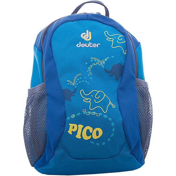 Deuter Рюкзак детский Pico, бирюзовыйЧемоданы и дорожные сумки<br>Рюкзак Pico, бирюзовый, Deuter (Дойтер)<br><br>Характеристики:<br><br>• регулируемые лямки <br>• нагрудный ремень<br>• удобная ручка<br>• мягкая спинка<br>• два сетчатых боковых кармана<br>• количество отделений: 1<br>• тип застежки: молния<br>• размер: 28х19х12 см<br>• вес: 200 грамм<br>• материал: нейлон<br>• объем: 5 л<br>• цвет: бирюзовый<br>• рисунок: слоник<br><br>Детский рюкзак Pico станет незаменимым помощником ребенка во время прогулок. Рюкзак имеет одно вместительное отделение на молнии и 2 сетчатых кармана по бокам. Боковые карманы оснащены плотной резинкой, благодаря которой вещи сохранятся при перемещении рюкзака. Широкие регулируемые ремни и нагрудный ремень в сочетании с мягкой спинкой обеспечат удобство и правильное распределение нагрузки на спину. Небольшая ручка позволит носить рюкзак в руке при необходимости. Рюкзаку Pico вы смело можете доверить вещи малыша!<br><br>Рюкзак Pico, бирюзовый, Deuter (Дойтер) вы можете купить в нашем интернет-магазине.<br>Ширина мм: 120; Глубина мм: 190; Высота мм: 280; Вес г: 200; Возраст от месяцев: 24; Возраст до месяцев: 84; Пол: Мужской; Возраст: Детский; SKU: 4782514;