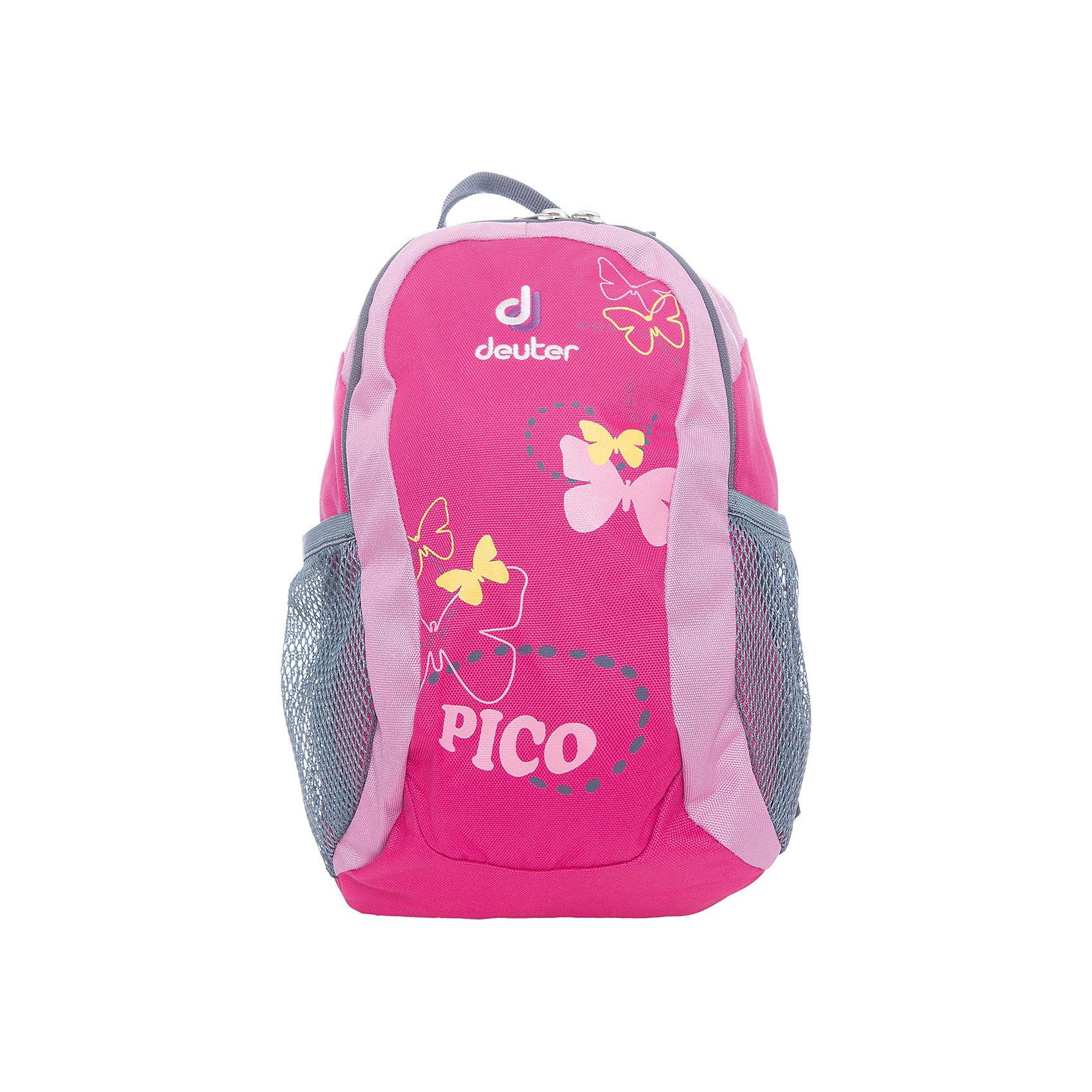 Deuter Рюкзак детский Pico, розовыйДорожные сумки и чемоданы<br>Рюкзак Pico, розовый, Deuter (Дойтер)<br><br>Характеристики:<br><br>• регулируемые лямки <br>• нагрудный ремень<br>• удобная ручка<br>• мягкая спинка<br>• два сетчатых боковых кармана<br>• количество отделений: 1<br>• тип застежки: молния<br>• размер: 28х19х12 см<br>• вес: 200 грамм<br>• материал: нейлон<br>• объем: 5 л<br>• цвет: розовый<br>• рисунок: бабочки<br><br>Детский рюкзак Pico станет незаменимым помощником ребенка во время прогулок. Рюкзак имеет одно вместительное отделение на молнии и 2 сетчатых кармана по бокам. Боковые карманы оснащены плотной резинкой, благодаря которой вещи сохранятся при перемещении рюкзака. Широкие регулируемые ремни и нагрудный ремень в сочетании с мягкой спинкой обеспечат удобство и правильное распределение нагрузки на спину. Небольшая ручка позволит носить рюкзак в руке при необходимости. Рюкзаку Pico вы смело можете доверить вещи малыша!<br><br>Рюкзак Pico, розовый, Deuter (Дойтер) вы можете купить в нашем интернет-магазине.<br><br>Ширина мм: 120<br>Глубина мм: 190<br>Высота мм: 280<br>Вес г: 200<br>Возраст от месяцев: 24<br>Возраст до месяцев: 84<br>Пол: Женский<br>Возраст: Детский<br>SKU: 4782515