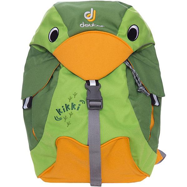 Deuter Рюкзак детский Kikki, изумрудно-зеленыйДорожные сумки и чемоданы<br>Рюкзак Kikki, изумрудно-зеленый, Deuter (Дойтер)<br><br>Характеристики:<br><br>• ортопедическая спинка<br>• есть нагрудный ремень<br>• 2 внешних кармана с застежками<br>• клапан в виде головы птицы<br>• материал: нейлон<br>• размер: 20х35х16 см<br>• объем: 6 л<br>• вес: 360 грамм<br>• цвет: изумрудно-зеленый<br><br>Стильный рюкзак Kikki изготовлен из качественного нейлона, обладающего высокой износостойкостью. Модель оснащена регулируемыми лямками и надежным нагрудным ремнем. Лямки очень широкие и мягкие, что обеспечивает удобство при ношении. Одно вместительное отделение дополнено двумя внешними карманами на застежках. Рюкзак имеет светоотражающие элементы по бокам и спереди. Это обеспечит безопасность ребенка в темное время суток. Рюкзак отлично подойдет для прогулок и занятий!<br><br>Рюкзак Kikki, изумрудно-зеленый, Deuter (Дойтер) можно купить в нашем интернет-магазине.<br>Ширина мм: 160; Глубина мм: 200; Высота мм: 350; Вес г: 360; Возраст от месяцев: 24; Возраст до месяцев: 84; Пол: Унисекс; Возраст: Детский; SKU: 4782516;