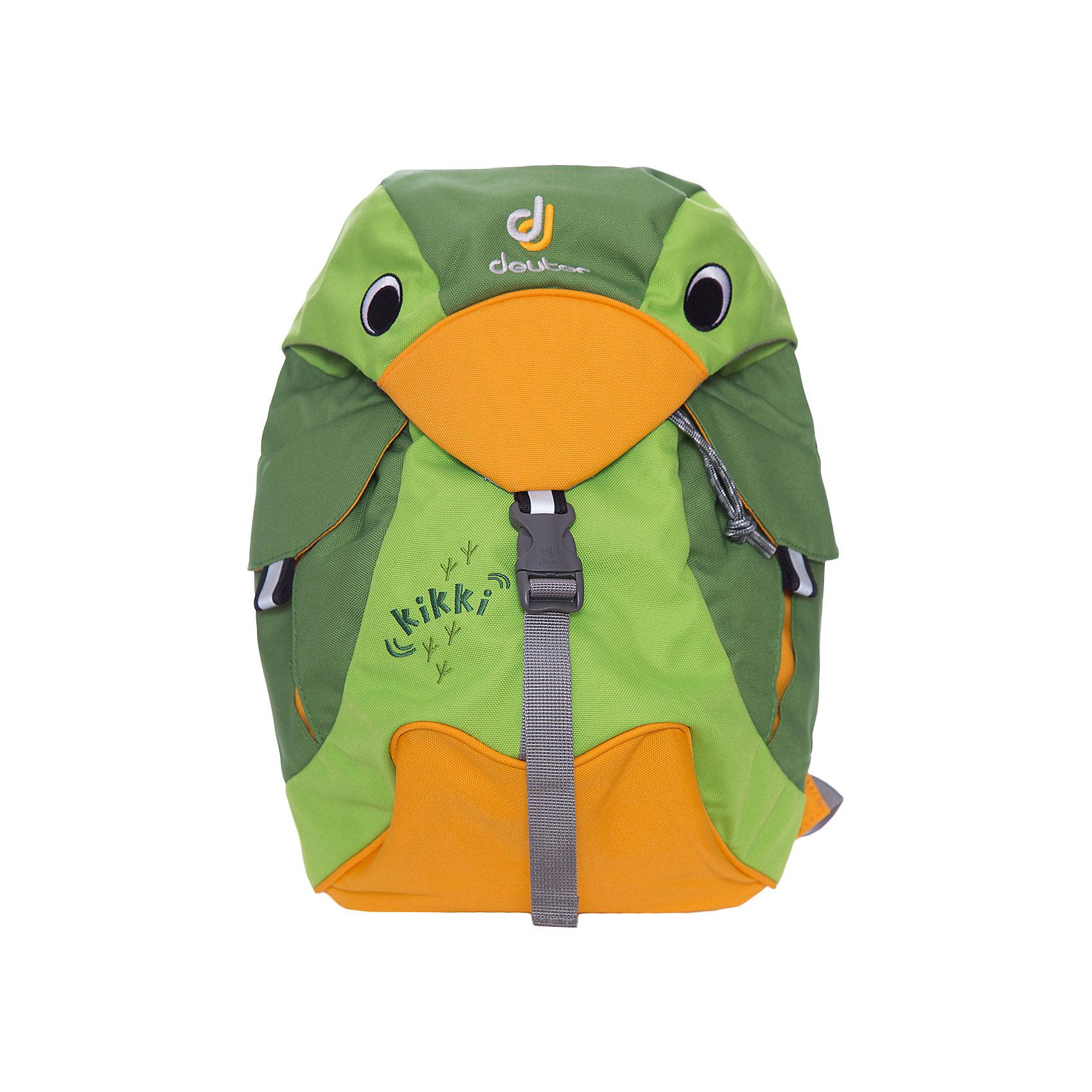 Deuter Рюкзак детский Kikki, изумрудно-зеленыйДорожные сумки и чемоданы<br>Рюкзак Kikki, изумрудно-зеленый, Deuter (Дойтер)<br><br>Характеристики:<br><br>• ортопедическая спинка<br>• есть нагрудный ремень<br>• 2 внешних кармана с застежками<br>• клапан в виде головы птицы<br>• материал: нейлон<br>• размер: 20х35х16 см<br>• объем: 6 л<br>• вес: 360 грамм<br>• цвет: изумрудно-зеленый<br><br>Стильный рюкзак Kikki изготовлен из качественного нейлона, обладающего высокой износостойкостью. Модель оснащена регулируемыми лямками и надежным нагрудным ремнем. Лямки очень широкие и мягкие, что обеспечивает удобство при ношении. Одно вместительное отделение дополнено двумя внешними карманами на застежках. Рюкзак имеет светоотражающие элементы по бокам и спереди. Это обеспечит безопасность ребенка в темное время суток. Рюкзак отлично подойдет для прогулок и занятий!<br><br>Рюкзак Kikki, изумрудно-зеленый, Deuter (Дойтер) можно купить в нашем интернет-магазине.<br><br>Ширина мм: 160<br>Глубина мм: 200<br>Высота мм: 350<br>Вес г: 360<br>Возраст от месяцев: 24<br>Возраст до месяцев: 84<br>Пол: Унисекс<br>Возраст: Детский<br>SKU: 4782516