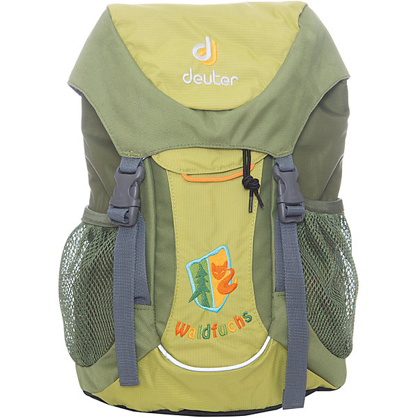 Deuter Рюкзак детский Waldfuchs, зеленыйДорожные сумки и чемоданы<br>Рюкзак Waldfuchs, зеленый, Deuter (Дойтер)<br><br>Характеристики:<br><br>• мягкая спинка и плечевые ремни<br>• основное отделение закрывается на клапан и имеет застежки<br>• внешний карман с застежкой Velcro<br>• съемный коврик для усиления спинки подходит для сидения<br>• боковые сетчатые карманы<br>• карман с карабином для ключей<br>• именная бирка внутри<br>• уплотненное дно<br>• две петли на внешней стороне<br>• объем: 10 л<br>• материал: Super-Polytex<br>• вес: 370 грамм<br>• цвет: зеленый<br><br>Рюкзак Waldfuchs идеально подойдет для любителей активного отдыха. Он имеет одно вместительное отделение, застегивающееся на клапан с застежками, внешний карман и сетчатые боковые карманы на резинке. Внешний карман оснащен карабином, на который можно прикрепить ключи. Внутреннее отделение имеет съемный коврик. При ношении он уплотняет спинку рюкзака, а во время перерыва его можно использовать в качестве сидения. Рюкзак изготовлен из материала Super-Polytex. Он устойчив к намоканию и не истирается. Ко всему прочему, рюкзак имеет именную бирку внутри и две петли для снаряжения на внешней стороне. Waldfuchs - отличный вариант для семейных походов и занятий спортом!<br><br>Рюкзак Waldfuchs, зеленый, Deuter (Дойтер) вы можете купить в нашем интернет-магазине.<br>Ширина мм: 150; Глубина мм: 350; Высота мм: 240; Вес г: 350; Возраст от месяцев: 36; Возраст до месяцев: 84; Пол: Унисекс; Возраст: Детский; SKU: 4782524;