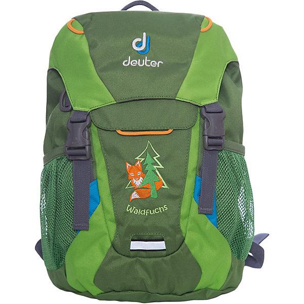 Deuter Рюкзак детский Waldfuchs, изумрудно-зеленыйДорожные сумки и чемоданы<br>Рюкзак Waldfuchs, изумрудно-зеленый, Deuter (Дойтер)<br><br>Характеристики:<br><br>• мягкая спинка и плечевые ремни<br>• основное отделение закрывается на клапан и имеет застежки<br>• внешний карман с застежкой Velcro<br>• съемный коврик для усиления спинки подходит для сидения<br>• боковые сетчатые карманы<br>• карман с карабином для ключей<br>• именная бирка внутри<br>• уплотненное дно<br>• две петли на внешней стороне<br>• объем: 10 л<br>• материал: Super-Polytex<br>• вес: 370 грамм<br>• цвет: изумрудно-зеленый<br><br>Рюкзак Waldfuchs идеально подойдет для любителей активного отдыха. Он имеет одно вместительное отделение, застегивающееся на клапан с застежками, внешний карман и сетчатые боковые карманы на резинке. Внешний карман оснащен карабином, на который можно прикрепить ключи. Внутреннее отделение имеет съемный коврик. При ношении он уплотняет спинку рюкзака, а во время перерыва его можно использовать в качестве сидения. Рюкзак изготовлен из материала Super-Polytex. Он устойчив к намоканию и не истирается. Ко всему прочему, рюкзак имеет именную бирку внутри и две петли для снаряжения на внешней стороне. Waldfuchs - отличный вариант для семейных походов и занятий спортом!<br><br>Рюкзак Waldfuchs, изумрудно-зеленый, Deuter (Дойтер) вы можете купить в нашем интернет-магазине.<br>Ширина мм: 150; Глубина мм: 350; Высота мм: 240; Вес г: 350; Возраст от месяцев: 36; Возраст до месяцев: 84; Пол: Унисекс; Возраст: Детский; SKU: 4782525;
