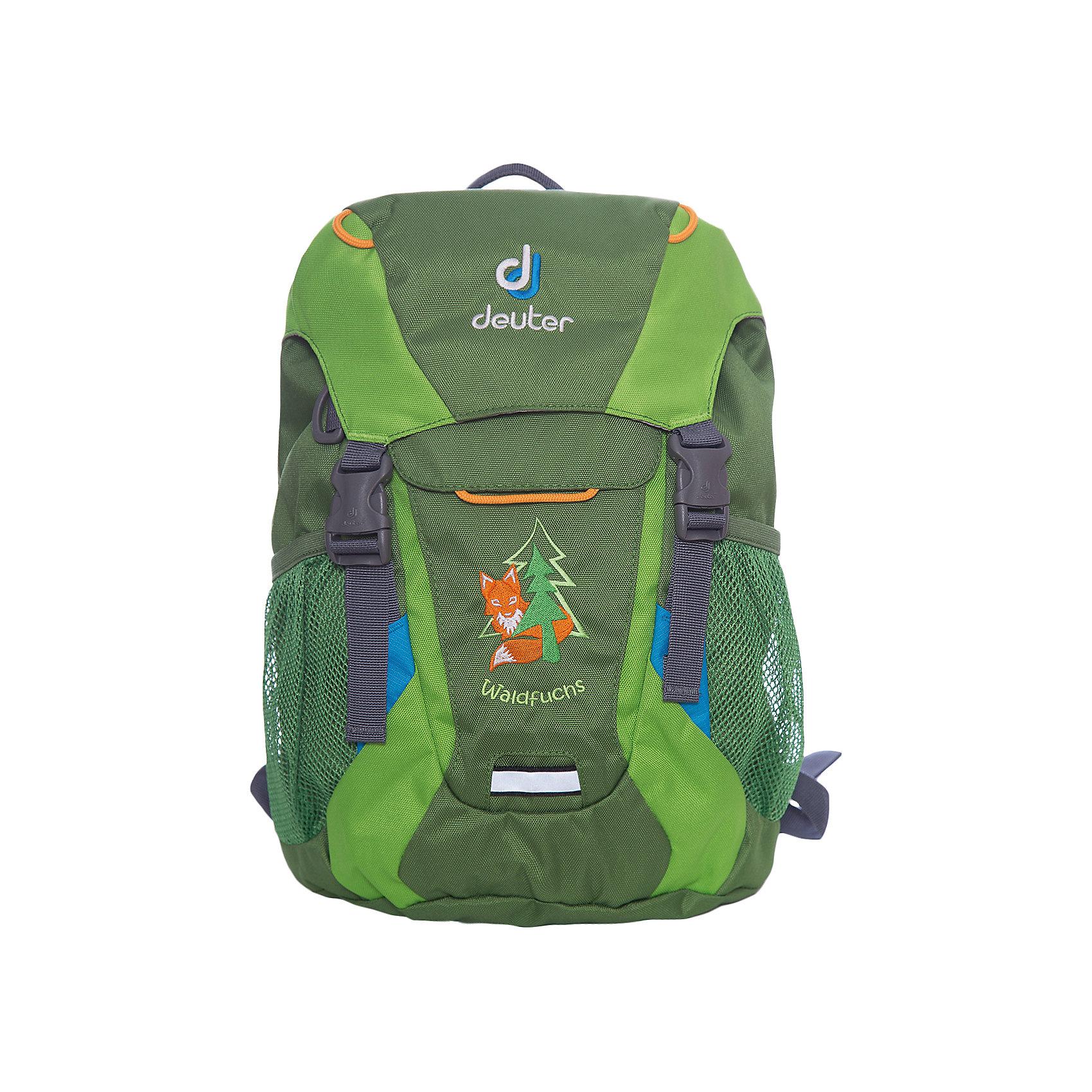 Рюкзак Waldfuchs, изумрудно-зеленыйРюкзак Waldfuchs, изумрудно-зеленый, Deuter (Дойтер)<br><br>Характеристики:<br><br>• мягкая спинка и плечевые ремни<br>• основное отделение закрывается на клапан и имеет застежки<br>• внешний карман с застежкой Velcro<br>• съемный коврик для усиления спинки подходит для сидения<br>• боковые сетчатые карманы<br>• карман с карабином для ключей<br>• именная бирка внутри<br>• уплотненное дно<br>• две петли на внешней стороне<br>• объем: 10 л<br>• материал: Super-Polytex<br>• вес: 370 грамм<br>• цвет: изумрудно-зеленый<br><br>Рюкзак Waldfuchs идеально подойдет для любителей активного отдыха. Он имеет одно вместительное отделение, застегивающееся на клапан с застежками, внешний карман и сетчатые боковые карманы на резинке. Внешний карман оснащен карабином, на который можно прикрепить ключи. Внутреннее отделение имеет съемный коврик. При ношении он уплотняет спинку рюкзака, а во время перерыва его можно использовать в качестве сидения. Рюкзак изготовлен из материала Super-Polytex. Он устойчив к намоканию и не истирается. Ко всему прочему, рюкзак имеет именную бирку внутри и две петли для снаряжения на внешней стороне. Waldfuchs - отличный вариант для семейных походов и занятий спортом!<br><br>Рюкзак Waldfuchs, изумрудно-зеленый, Deuter (Дойтер) вы можете купить в нашем интернет-магазине.<br><br>Ширина мм: 150<br>Глубина мм: 350<br>Высота мм: 240<br>Вес г: 350<br>Возраст от месяцев: 36<br>Возраст до месяцев: 84<br>Пол: Унисекс<br>Возраст: Детский<br>SKU: 4782525
