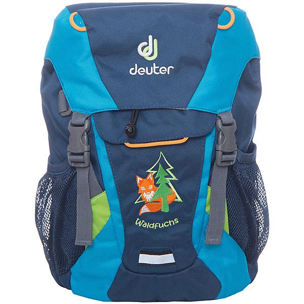 Deuter Рюкзак детский Waldfuchs, сине-бирюзовыйДорожные сумки и чемоданы<br>Рюкзак Waldfuchs, сине-бирюзовый, Deuter (Дойтер)<br><br>Характеристики:<br><br>• мягкая спинка и плечевые ремни<br>• основное отделение закрывается на клапан и имеет застежки<br>• внешний карман с застежкой Velcro<br>• съемный коврик для усиления спинки подходит для сидения<br>• боковые сетчатые карманы<br>• карман с карабином для ключей<br>• именная бирка внутри<br>• уплотненное дно<br>• две петли на внешней стороне<br>• объем: 10 л<br>• материал: Super-Polytex<br>• вес: 370 грамм<br>• цвет: сине-бирюзовый<br><br>Рюкзак Waldfuchs идеально подойдет для любителей активного отдыха. Он имеет одно вместительное отделение, застегивающееся на клапан с застежками, внешний карман и сетчатые боковые карманы на резинке. Внешний карман оснащен карабином, на который можно прикрепить ключи. Внутреннее отделение имеет съемный коврик. При ношении он уплотняет спинку рюкзака, а во время перерыва его можно использовать в качестве сидения. Рюкзак изготовлен из материала Super-Polytex. Он устойчив к намоканию и не истирается. Ко всему прочему, рюкзак имеет именную бирку внутри и две петли для снаряжения на внешней стороне. Waldfuchs - отличный вариант для семейных походов и занятий спортом!<br><br>Рюкзак Waldfuchs, сине-бирюзовый, Deuter (Дойтер) вы можете купить в нашем интернет-магазине.<br><br>Ширина мм: 150<br>Глубина мм: 350<br>Высота мм: 240<br>Вес г: 350<br>Возраст от месяцев: 36<br>Возраст до месяцев: 84<br>Пол: Мужской<br>Возраст: Детский<br>SKU: 4782526