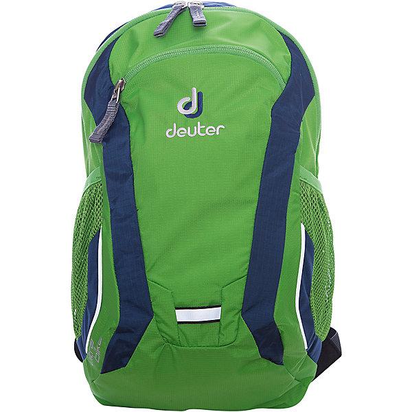 Deuter Рюкзак детский Ultra bike, зелено-синийДорожные сумки и чемоданы<br>Рюкзак Ultra bike, зелено-синий, Deuter (Дойтер)<br><br>Характеристики:<br><br>• анатомические плечевые лямки<br>• нагрудный ремень <br>• система вентиляции спины Airstripes<br>• вместительное основное отделение<br>• внешний карман на молнии<br>• 2 боковых сетчатых кармана<br>• светоотражающие элементы<br>• именная бирка<br>• размер: 36х22х16 см<br>• объем: 10 л<br>• вес: 350 грамм<br>• материал: Microrip-Nylon / HexLite 210<br>• цвет: зелено-синий<br><br>Рюкзак Ultra Bike отлично подойдет для юных велосипедистов. Он изготовлен из качественного прочного материала, устойчивого к влаге и истиранию. Анатомические лямки и нагрудный ремень обеспечат правильное распределение нагрузки на спину и плечевой пояс. Рюкзак имеет одно основное отделение на молнии, внешний карман на молнии и два боковых сетчатых кармана. Кроме того, модель оснащена именной биркой, светоотражающими элементами и отдельной отражающей петлей для проблескового фонарика. Рюкзак Ultra Bike - отличный выбор для юных спортсменов!<br><br>Рюкзак Ultra bike, зелено-синий, Deuter (Дойтер) вы можете купить в нашем интернет-магазине.<br>Ширина мм: 160; Глубина мм: 220; Высота мм: 360; Вес г: 350; Возраст от месяцев: 36; Возраст до месяцев: 84; Пол: Мужской; Возраст: Детский; SKU: 4782528;