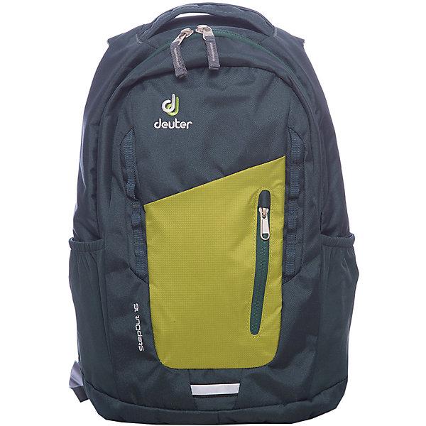 Deuter Рюкзак Stepout  16, сине-зеленыйДорожные сумки и чемоданы<br>Рюкзак Stepout  16, сине-зеленый, Deuter (Дойтер)<br><br>Характеристики:<br><br>• система вентиляции спины Airstripes<br>• лямки имеют анатомическую форму<br>• отделение для документов<br>• внешний карман на молнии с карабином для ключей<br>• боковые карманы на резинке<br>• петля для фонарика<br>• удобная ручка для переноски<br>• петля для навески<br>• материал: Super-Polytex<br>• объем: 16 л<br>• размер: 45х26х16 см<br>• вес: 550 грамм<br>• цвет: сине-зеленый<br><br>Городской рюкзак Stepout очень функционален. Он оснащен одним большим отделением на молнии, внешним отделением на молнии и двумя боковыми карманами на резинке. Основное отделение имеет карман для документов, а внешнее - карабин для ключей. Плечевые ремни имеют анатомическую форму, обеспечивающую правильное распределение нагрузки на спину. Рюкзак также оснащен системой Airstripes, которая позволит коже дышать. Она впитывает лишнюю влагу и пропускает воздух. Рюкзак имеет удобную ручку для переноски в руке и петлю для навески. Этот рюкзак - прекрасный выбор для ценителей качества и удобства!<br><br>Рюкзак Stepout  16, сине-зеленый, Deuter (Дойтер) можно купить в нашем интернет-магазине.<br><br>Ширина мм: 160<br>Глубина мм: 260<br>Высота мм: 450<br>Вес г: 550<br>Возраст от месяцев: 72<br>Возраст до месяцев: 144<br>Пол: Унисекс<br>Возраст: Детский<br>SKU: 4782532