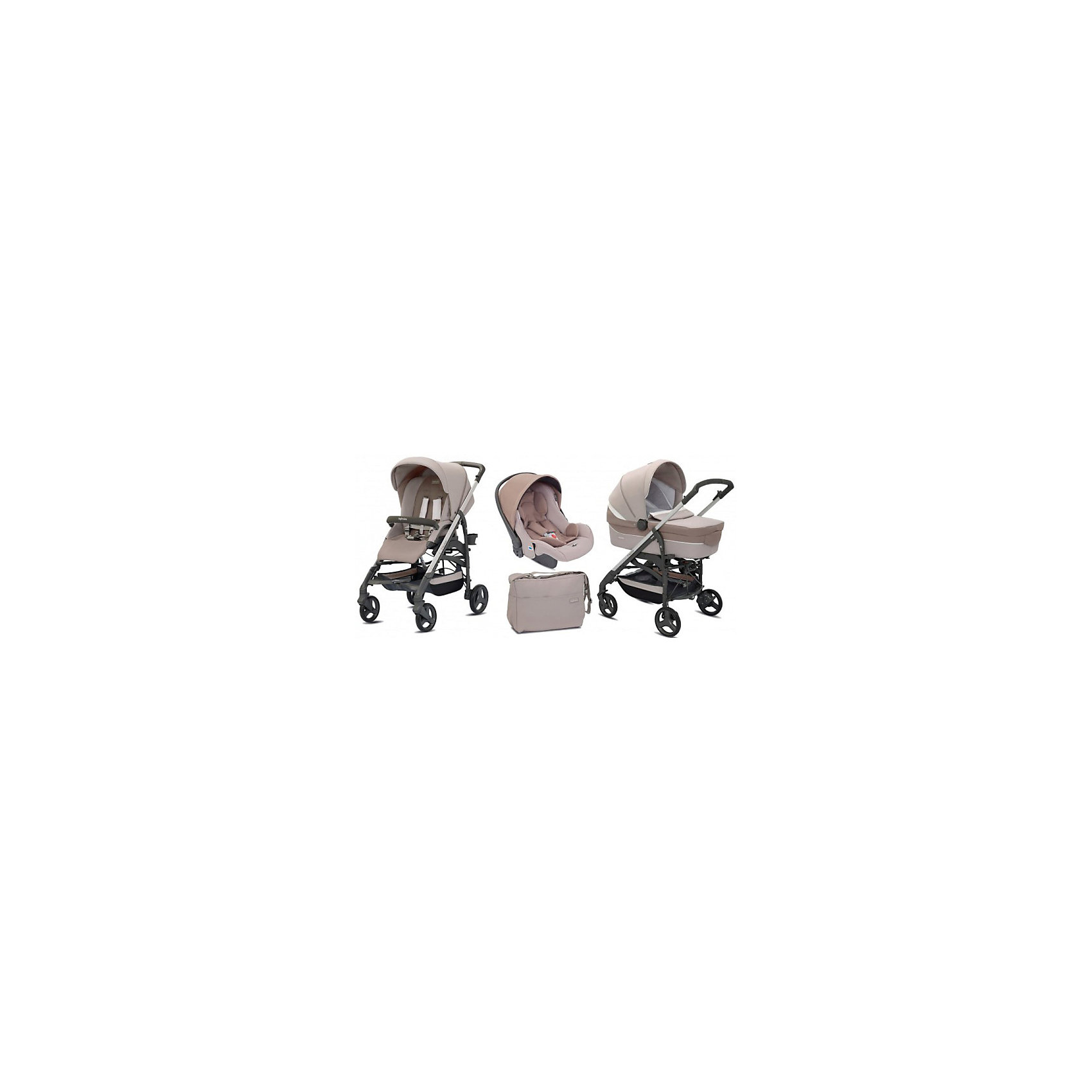 Коляска 3 в 1 Inglesina TrilogySystem,Ecru, на шассиTrilogySlateКоляски 3 в 1<br>Коляска 3 в 1TrilogySystem, Inglesina - уникальная модель, в которой продумана каждая мелочь. Она походит тем родителям, которые решили обеспечить своего малыша всеми возможными транспортными средствами на будущее. Прочная стальная рама с системой амортизации, делающая ход коляски плавным, оснащена передними поворотными колесами прекрасно подходящими для всех видов грунта. На шасси можно расположить люльку для младенца, прогулочный блок или автокресло. Система монтажа Easy Clips очень быстрая и удобная - нужная комплектация устанавливается в считанные минуты. Люлька с просторным ложем оснащена системой вентиляции, все текстильные элементы выполнены из высококачественных гипоаллергенных материалов. Спинку можно приподнять и опустить. В капюшоне – окошко для циркуляции воздуха.<br>Прогулочный блок оснащен ремнями безопасности. Спинка и подножка раскрываются до 175?, превращаясь в полноценное спальное место для крохи. <br><br>Дополнительная информация:<br><br>- Материал: текстиль, сталь, резина, пластик.<br>- 4 колеса: итые, резиновые, с подшипниками: передние – поворотные, с возможностью фиксации (рычаг блокировки расположен на раме).<br>- Диаметр колес: 17,5 см и 20,5 см.<br>- Система амортизации. <br>- Люлька на шасси: 112х56,5х86 см<br>- Шасси с прогулочным блоком в разложенном виде: 56,5x107x83 см<br>- Шасси с прогулочным блоком в сложенном виде: 36,5х97x48 см<br>- Размер автокресла: 55х42х68 см.<br>- Размер люльки: 62x47x86  см.<br>- Внутренний размер люльки:  22х34х74 см.<br>- Люлька: 2 положения спинки, ручка-переноска.<br>- Прогулочный блок: ремни безопасности, 3 положения спинки; 2 положения подножки, съемный бампер. <br>- В комплекте:  шасси, люлька, автокресло, прогулочный блок, накидка на ножки, дождевик, подстаканник, сумка для мамы.<br>- Вес автокресла: 4 кг.<br>- Вес люльки: 5,5 кг.<br>- Вес шасси с прогулочным блоком: 9,5 кг.<br><br>Коляску 3 в 1TrilogySystem, Inglesina (И