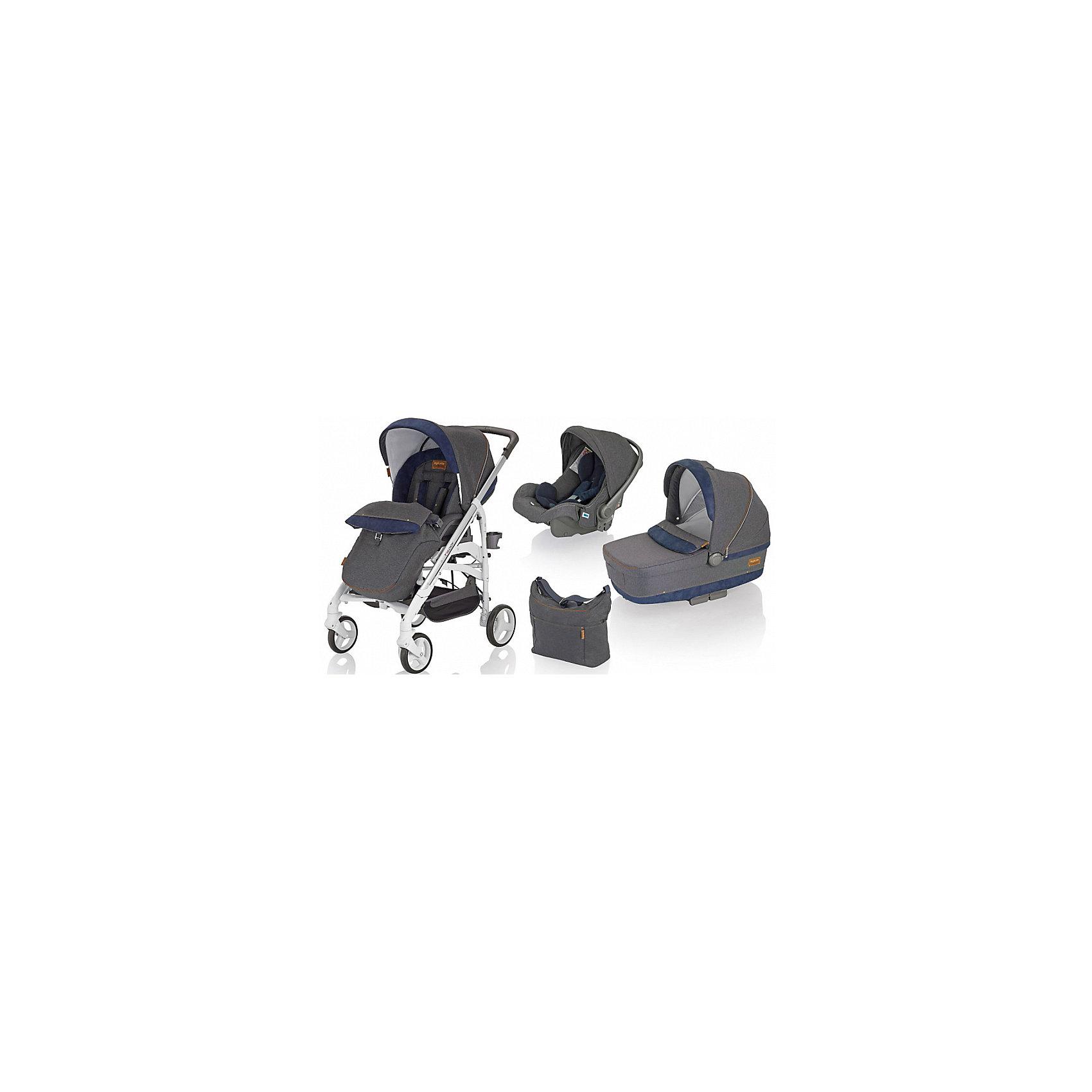 Коляска 3 в 1 Trilogy System, Inglesina, на шасси Trilogy WhiteКоляска 3 в 1TrilogySystem, Inglesina - уникальная модель, в которой продумана каждая мелочь. Она походит тем родителям, которые решили обеспечить своего малыша всеми возможными транспортными средствами на будущее. Прочная стальная рама с системой амортизации, делающая ход коляски плавным, оснащена передними поворотными колесами прекрасно подходящими для всех видов грунта. На шасси можно расположить люльку для младенца, прогулочный блок или автокресло. Система монтажа Easy Clips очень быстрая и удобная - нужная комплектация устанавливается в считанные минуты. Люлька с просторным ложем оснащена системой вентиляции, все текстильные элементы выполнены из высококачественных гипоаллергенных материалов. Спинку можно приподнять и опустить. В капюшоне – окошко для циркуляции воздуха.<br>Прогулочный блок оснащен ремнями безопасности. Спинка и подножка раскрываются до 175?, превращаясь в полноценное спальное место для крохи. <br><br>Дополнительная информация:<br><br>- Материал: текстиль, сталь, резина, пластик.<br>- 4 колеса: итые, резиновые, с подшипниками: передние – поворотные, с возможностью фиксации (рычаг блокировки расположен на раме).<br>- Диаметр колес: 17,5 см и 20,5 см.<br>- Система амортизации. <br>- Люлька на шасси: 112х56,5х86 см<br>- Шасси с прогулочным блоком в разложенном виде: 56,5x107x83 см<br>- Шасси с прогулочным блоком в сложенном виде: 36,5х97x48 см<br>- Размер автокресла: 55х42х68 см.<br>- Размер люльки: 62x47x86  см.<br>- Внутренний размер люльки:  22х34х74 см.<br>- Люлька: 2 положения спинки, ручка-переноска.<br>- Прогулочный блок: ремни безопасности, 3 положения спинки; 2 положения подножки, съемный бампер. <br>- В комплекте:  шасси, люлька, автокресло, прогулочный блок, накидка на ножки, дождевик, подстаканник, сумка для мамы.<br>- Вес автокресла: 4 кг.<br>- Вес люльки: 5,5 кг.<br>- Вес шасси с прогулочным блоком: 9,5 кг.<br><br>Коляску 3 в 1 Trilogy System, Inglesina (Инглезина), на ша