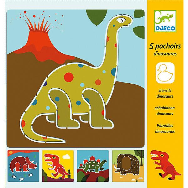Набор трафаретов ДинозаврыДетские трафареты<br>Набор трафаретов Динозавры от французского производителя Djeco позволит детям создать необычные картинки с забавными динозавриками. <br><br>Набор состоит из 5 трафаретов с изображением динозавров. Ребенку необходимо просто обвести фигуры по контуру карандашом или фломастером и раскрасить их по желанию. И каждый раз у вас будет получаться новая веселая картинка, которую можно повесить в рамку или украсить ей тетрадку. <br><br>В наборе: 5 листов с трафаретом размером 20х20 см. <br><br>Набор трафаретов продается в яркой подарочной коробке. <br>Трафареты очень высококачественны и безопасны для ребенка<br><br>Набор трафаретов Динозавры можно купить в нашем магазине.<br><br>Ширина мм: 200<br>Глубина мм: 200<br>Высота мм: 5<br>Вес г: 80<br>Возраст от месяцев: 60<br>Возраст до месяцев: 108<br>Пол: Мужской<br>Возраст: Детский<br>SKU: 4783858