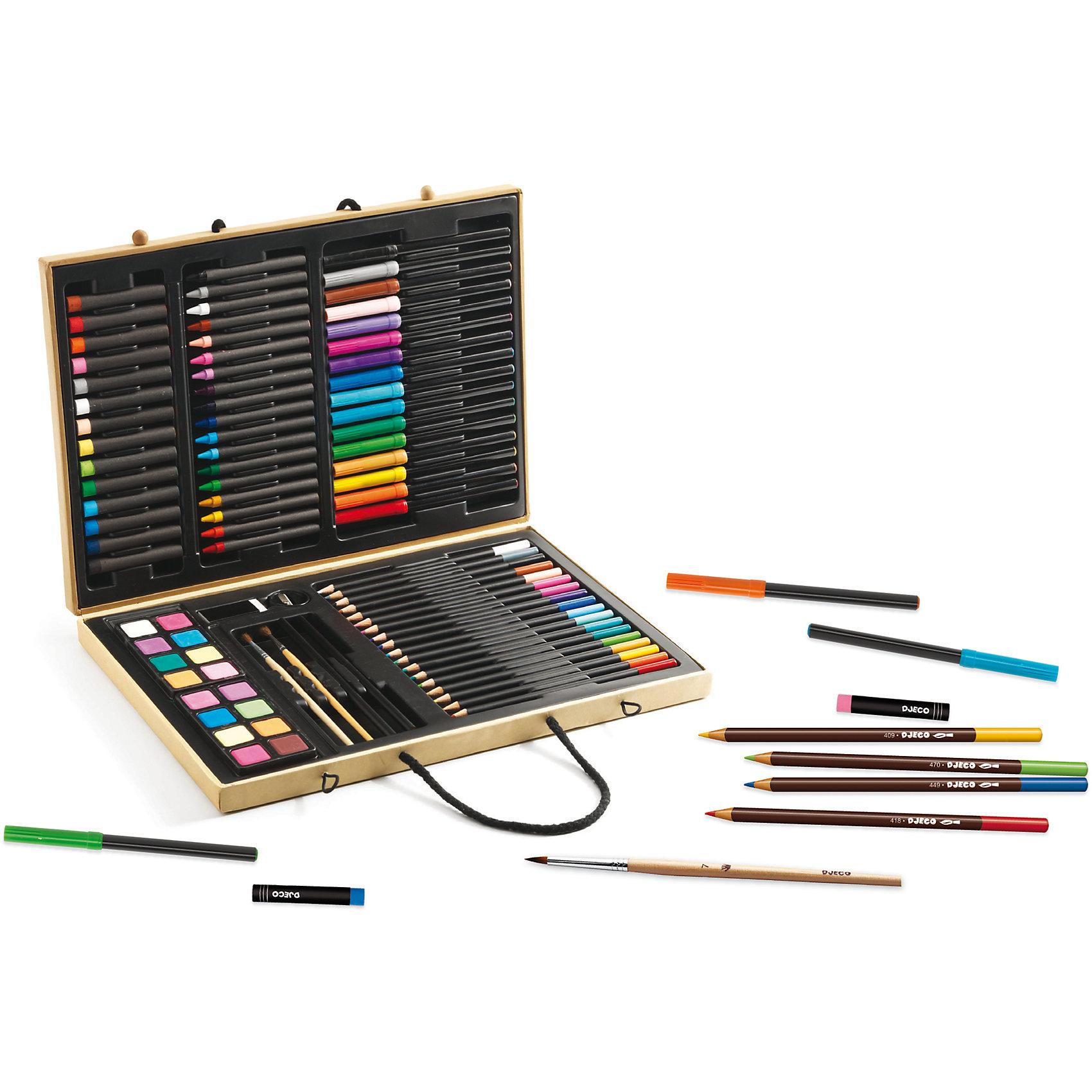 Большой художественный набор (88 предметов)Маркеры<br>Большой художественный набор от французского производителя Djeco (Джеко) - превосходный набор для рисования в чемоданчике для каждого творческого ребенка! В наборе вы найдёте всё необходимое для создания красивых рисунков и художественных картин: карандаши, фломастеры, мелки, пастель, акварель и многое другое. Красивые цвета и великолепное европейское качество приведут в восторг не только начинающих художников, но и опытных ценителей искусства. Краски не выцветают и сохраняют насыщенность цвета в течение долгого времени. <br>В наборе: <br>18 цветных карандашей, 16 фломастеров, 18 восковых мелков,<br>14 цветов масляной пастели, 16 цветов акварели, 2 кисточки, 2 простых карандаша, 1 точилка, 1 ластик.<br><br>Набор продается в большом подарочном деревянном чемоданчике. Все детали набора совершенно безопасны для детей и изготовлены из высококачественного дерева.<br><br>Большой художественный набор (88 предметов) можно купить в нашем магазине.<br><br>Ширина мм: 40<br>Глубина мм: 360<br>Высота мм: 270<br>Вес г: 1220<br>Возраст от месяцев: 36<br>Возраст до месяцев: 144<br>Пол: Унисекс<br>Возраст: Детский<br>SKU: 4783888