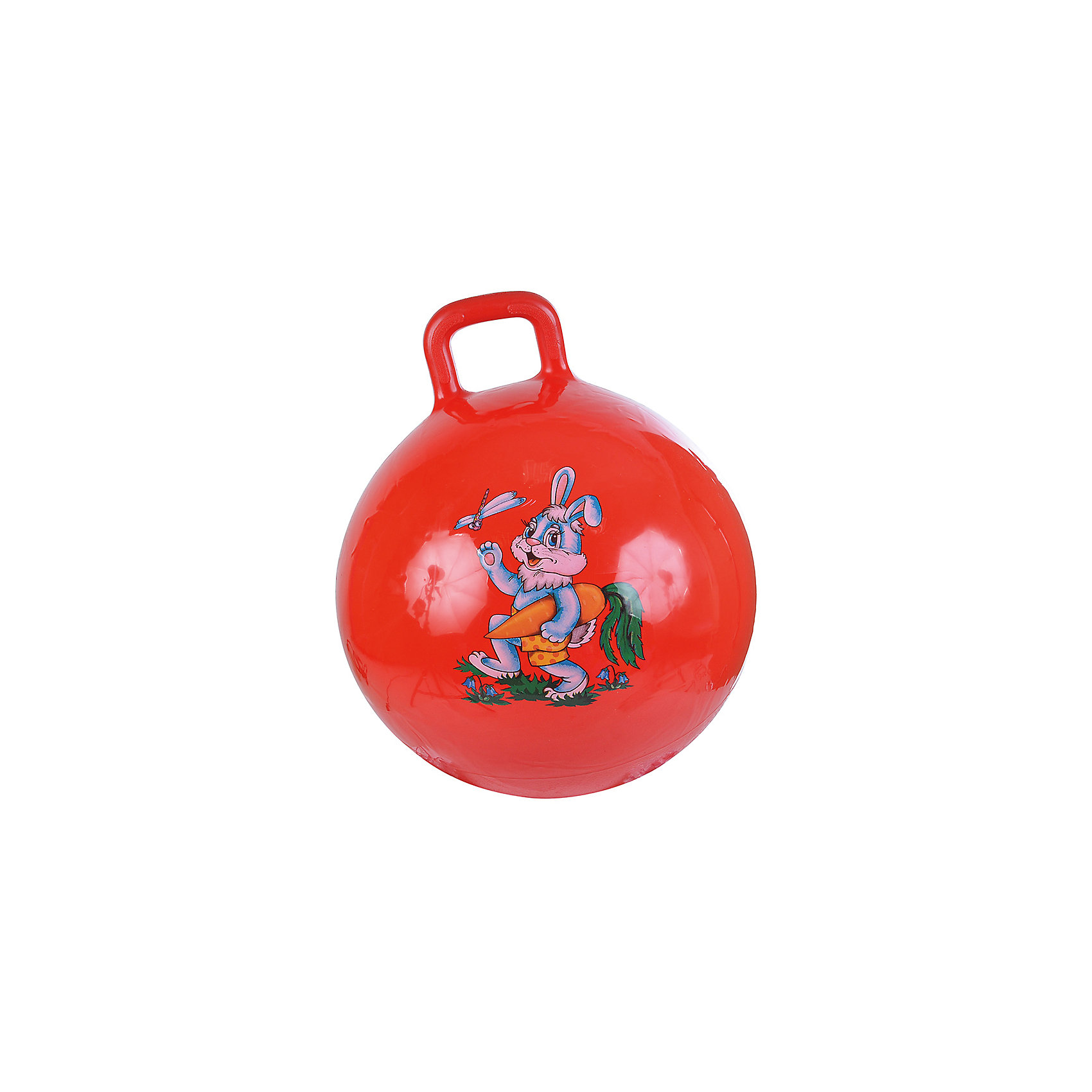 Надувной мяч Зайка, с насосом, 45см, красный, SPRING