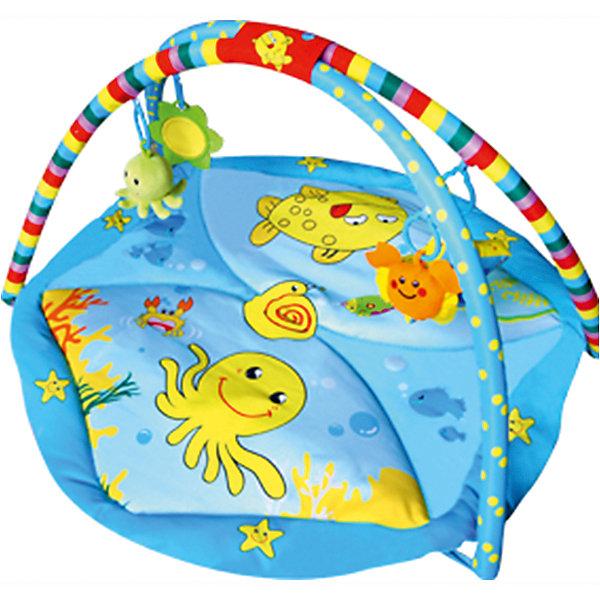 Развивающий коврик Голубой океан, 85х85х45 см, LA-DI-DAРазвивающие коврики<br>Развивающий коврик Голубой океан, 85х85х45 см, LA-DI-DA (Ла Ди Да)<br><br>Характеристики:<br><br>• яркий дизайн с красивыми рисунками<br>• 2 дуги<br>• подвесные игрушки (5 шт.)<br>• музыкальный блок-мобиль<br>• материал: текстиль, пластик<br>• размер: 85х85х45 см<br>• вес: 1600 грамм<br><br>О развитии ребенка следует заботиться с самого рождения. Например, занятия на игровом коврике помогут развить координацию движений, моторику, тактильные ощущения, звуковое и цветовое восприятие. Коврик Голубой океан изготовлен из качественных материалов, приятных на ощупь. Поверхность коврика не вызовет раздражения на нежной коже ребенка. Модель имеет две удобные дуги с пятью колечками. На них подвешены игрушки, но вы можете прикрепить и любимые игрушки малыша. В центре коврика есть музыкальный блок-мобиль. Вращающиеся игрушки привлекут внимание крохи, а расслабляющая музыка успокоит, если малыш расстроен. Коврик легко складывается и очень компактен при хранении и транспортировке.<br><br>Развивающий коврик Голубой океан, 85х85х45 см, LA-DI-DA (Ла Ди Да) вы можете купить в нашем интернет-магазине.<br>Ширина мм: 850; Глубина мм: 850; Высота мм: 450; Вес г: 1610; Возраст от месяцев: 0; Возраст до месяцев: 36; Пол: Унисекс; Возраст: Детский; SKU: 4785534;