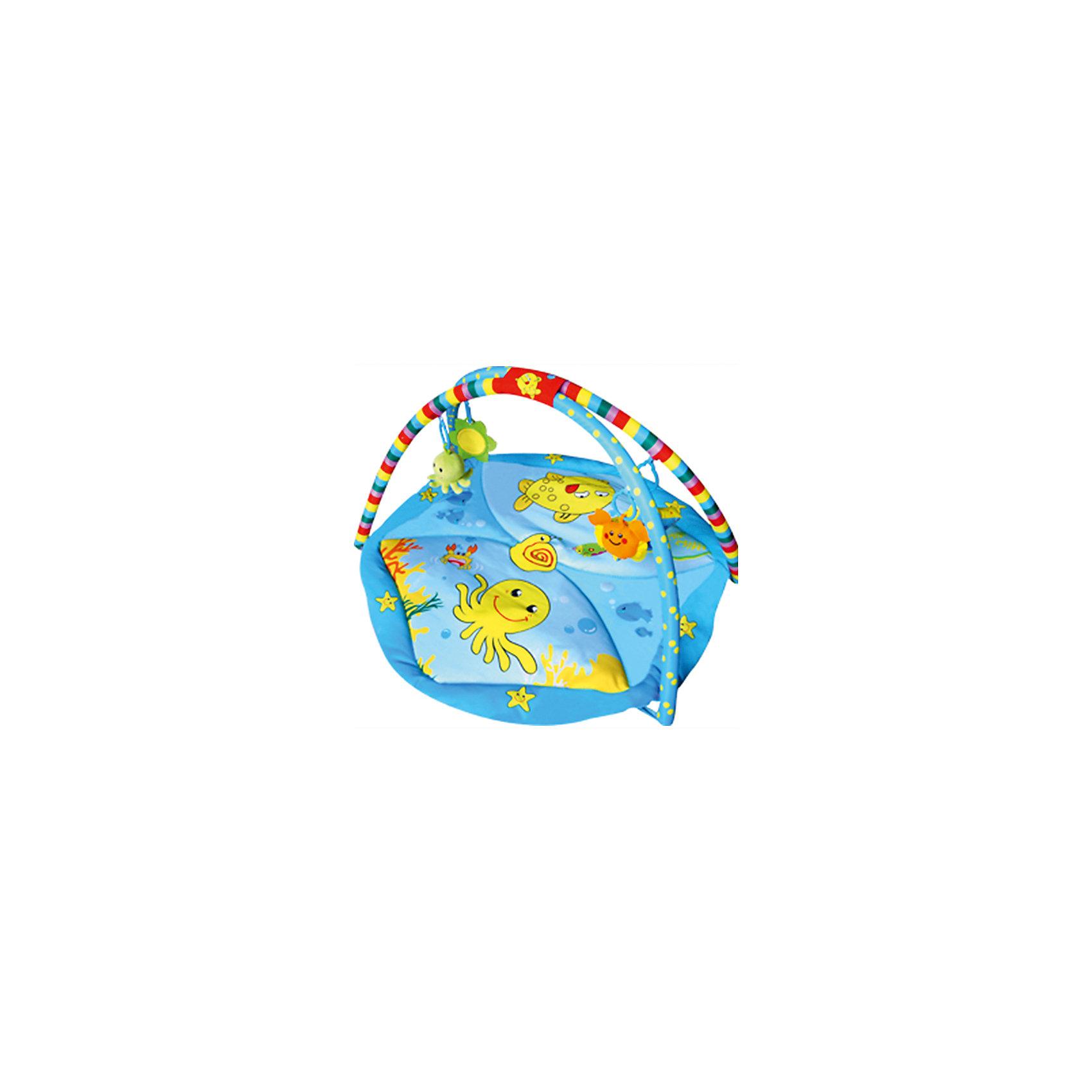 Развивающий коврик Голубой океан, 85х85х45 см, LA-DI-DAРазвивающие коврики<br>Развивающий коврик Голубой океан, 85х85х45 см, LA-DI-DA (Ла Ди Да)<br><br>Характеристики:<br><br>• яркий дизайн с красивыми рисунками<br>• 2 дуги<br>• подвесные игрушки (5 шт.)<br>• музыкальный блок-мобиль<br>• материал: текстиль, пластик<br>• размер: 85х85х45 см<br>• вес: 1600 грамм<br><br>О развитии ребенка следует заботиться с самого рождения. Например, занятия на игровом коврике помогут развить координацию движений, моторику, тактильные ощущения, звуковое и цветовое восприятие. Коврик Голубой океан изготовлен из качественных материалов, приятных на ощупь. Поверхность коврика не вызовет раздражения на нежной коже ребенка. Модель имеет две удобные дуги с пятью колечками. На них подвешены игрушки, но вы можете прикрепить и любимые игрушки малыша. В центре коврика есть музыкальный блок-мобиль. Вращающиеся игрушки привлекут внимание крохи, а расслабляющая музыка успокоит, если малыш расстроен. Коврик легко складывается и очень компактен при хранении и транспортировке.<br><br>Развивающий коврик Голубой океан, 85х85х45 см, LA-DI-DA (Ла Ди Да) вы можете купить в нашем интернет-магазине.<br><br>Ширина мм: 850<br>Глубина мм: 850<br>Высота мм: 450<br>Вес г: 1610<br>Возраст от месяцев: 0<br>Возраст до месяцев: 36<br>Пол: Унисекс<br>Возраст: Детский<br>SKU: 4785534