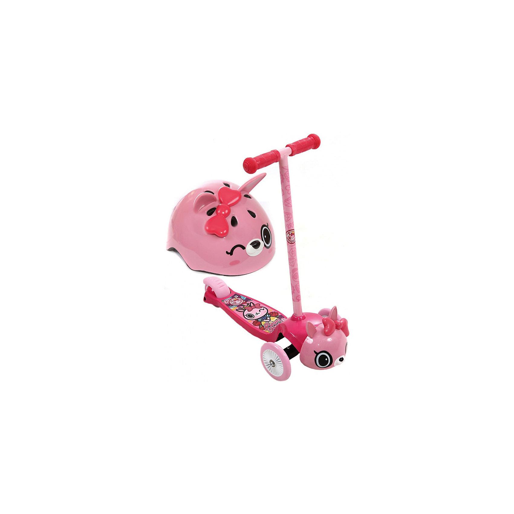 Самокат трехколесный Кошечка Пиччи, розовый, REXCO