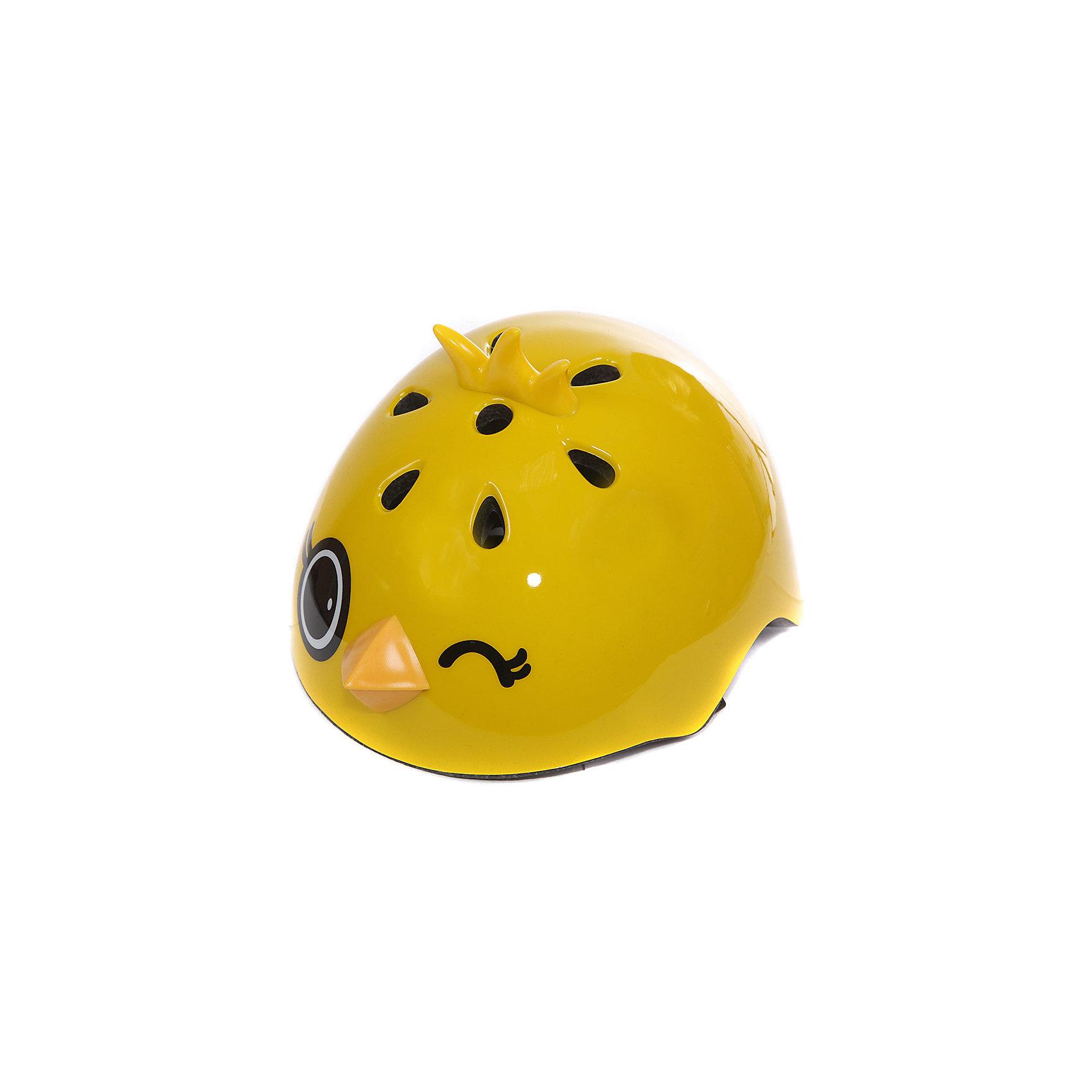 Шлем Цыпленок Янни, желтый, REXCOХарактеристики:<br><br>• Предназначение: для защиты во время катания<br>• Пол: универсальный<br>• Цвет: желтый, черный<br>• Материал: пластик двух видов (твердый, мягкий), внутренняя часть – полистирол EPS<br>• Размер: 23,5*20,5*17 см<br>• Вес: 630 г<br><br>Шлем Цыпленок Янни, желтый, REXCO предназначен для обеспечения защиты головы от ударов и травм во время катания ребенка на велосипеде, самокате, роликах или скейтборде. Шлем выполнен из двух видов экологически безопасного пластика: верхняя часть из ударопрочного материала, элементы дизайна из мягкого пластика, внутренняя часть из воздухопроницаемого полистирола. Высокие воздухопроницаемые свойства обеспечиваются и за счет дизайнерских отверстий на шлеме. Защитный шлем выполнен в ярком дизайне: в форме мордочки цыпленка с 3-d элементами. Шлем оснащен регулируемым ремешком-застежкой.<br>Шлем Цыпленок Янни, желтый, REXCO обеспечит безопасность вашего ребенка во время катания на любом детском транспорте.<br><br>Шлем Цыпленок Янни, желтый, REXCO можно купить в нашем интернет-магазине.<br><br>Подробнее:<br>Для детей в возрасте: от 3 и до 7 лет<br>Номер товара: 4785562<br>Страна производитель: Китай<br><br>Ширина мм: 400<br>Глубина мм: 400<br>Высота мм: 300<br>Вес г: 630<br>Возраст от месяцев: 36<br>Возраст до месяцев: 84<br>Пол: Унисекс<br>Возраст: Детский<br>SKU: 4785562