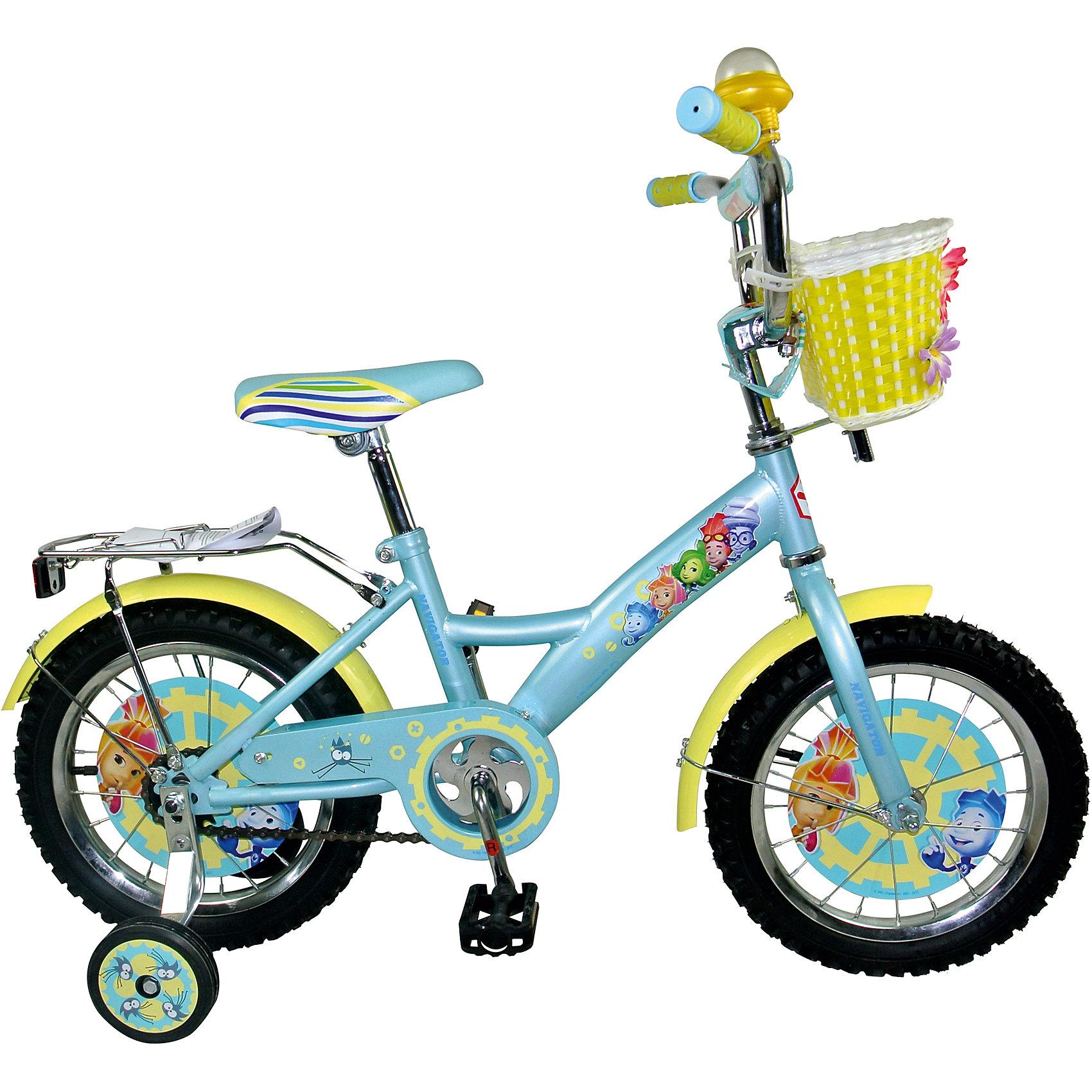 Велосипед Navigator, 16 дюймов, ФиксикиВелосипеды детские<br>Детский двухколесный велосипед с ярким дизайном и популярной лицензией Фиксики. Колеса 16 дюйм, широкие страховочные колёса со вставками, односоставной шатун, пластиковая корзина на руле, звонок, мягкая накладка на руле.<br><br>Ширина мм: 880<br>Глубина мм: 420<br>Высота мм: 170<br>Вес г: 10500<br>Возраст от месяцев: 60<br>Возраст до месяцев: 120<br>Пол: Унисекс<br>Возраст: Детский<br>SKU: 4786125