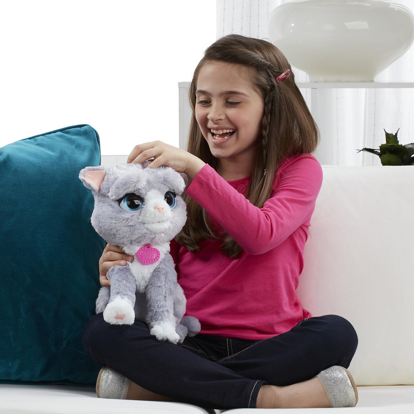 Интерактивный котенок Бутси, FurReal FriendsКошки и собаки<br>Интерактивный котенок Бутси из серии FurReal Friends от компании Hasbro - это игрушка, которая может менять настроение во время игры. Функционал игрушки очень многообразный, поэтому ребенок может играть с ней часами напролет!<br>Котенка можно покормить; после того, как он получит угощение, его настроение резко поднимется, милый питомец станет веселым и будет готов играть дальше!<br>Бутси обладает 5 разными выражениями. Она такая смелая и умеет показывать, когда счастлива, грустит, любопытна, расстроена или немного злится! Бутси обожает, когда ее обнимают или щекочат.<br>Бутси любит своё угощение - рыбку! Есть функция TRY-ME!  <br><br>Дополнительная информация:<br><br>Цвет: серый с белым.<br>Комплект: интерактивный котенок, аксессуар в виде рыбки, инструкция.<br>Наличие батареек: входят в комплект.<br>Тип батареек: 4 х AA/LR6 1.5V (пальчиковые).<br>Из чего сделана игрушка (состав): плюш, текстиль, пластмасса.<br><br>Ширина мм: 357<br>Глубина мм: 330<br>Высота мм: 162<br>Вес г: 945<br>Возраст от месяцев: 48<br>Возраст до месяцев: 96<br>Пол: Женский<br>Возраст: Детский<br>SKU: 4786859