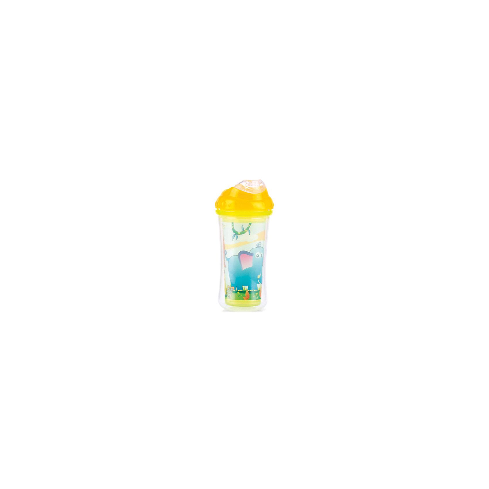 Поильник с силиконовым носиком-непроливайкой Слон, Nuby, жёлтыйПоильники<br>Красочный и очень удобный термопоильник-непроливайка с силиконовым носиком не оставит Вашего малыша равнодушным! <br>Поильник состоит из двух встроенных чашечек, предназначенных специально для сохранения нужной температуры напитков. <br>У поильника силиконовый носик, который позволит не повредить нежные десны и зубки малыша. Клапанная система позволяет легко изменять и контролировать скорость потока. <br>ИСПОЛЬЗОВАНИЕ: <br>Обязательно мыть поильник перед использованием. Для использования, нужно наполнить чашу жидкостью (приблизительно на 3/4) и  плотно закрыть крышку для обеспечения герметичности.<br>УХОД:<br> Поильник можно мыть в посудомоечной машине ( на верхней полке) или мыть в теплой воде с используя мягкое жидкое мыло, а затем тщательно промывать в чистой воде. <br>ПРЕДУПРЕЖДЕНИЕ: НЕ КИПЯТИТЬ. НЕ ПОМЕЩАТЬ В СВЧ-ПЕЧЬ!<br>Обязательно, всегда проверяйте температуру жидкости перед кормлением ребенка!<br><br>Дополнительная информация:<br><br>- Возраст: от 12 месяцев.<br>- Цвет: желтый.<br>- Состав: полипропилен.<br>- Изготовлено из безопасных, долговечных, нетоксичных материалов. <br>- Сертифицировано в России. <br>- Соответствует всем требованиям ГОСТ и СанПиН.<br>- Размер упаковки: 7х7х22 см.<br>- Вес в упаковке: 131 г.<br><br>Купить поильник с силиконовым носиком-непроливайкой Nuby в желтом цвете, можно в нашем магазине.<br><br>Ширина мм: 70<br>Глубина мм: 70<br>Высота мм: 220<br>Вес г: 131<br>Возраст от месяцев: 12<br>Возраст до месяцев: 36<br>Пол: Унисекс<br>Возраст: Детский<br>SKU: 4788574