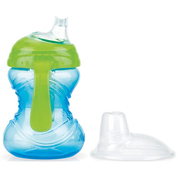Поильник 240мл, Nuby, голубой/зеленыйПоильники<br>Обучение ребенка самостоятельному питью будет гораздо легче и интересней, благодаря мягкому силиконовому носику и анатомической форме поильника!<br>Удобные ручки позволят малышу крепко удерживать поильник в руках в процессе питья. А специальная система встроенного клапана поможет избежать проливание. <br>Из-за чудесной технологии жидкость поступает в носик только тогда, когда ребенок совершает сосательных движений. Такая система предотвращает протекание поильника. А мягкий носик предотвратит повреждения нежных десен и зубов ребенка.                                                                                                                                                                                                                                               УХОД:<br>Поильник можно мыть в посудомоечной машине (на верхней полке) или в теплой воде с использованием жидкого мыла, а затем тщательно промывать в чистой воде. <br>Всегда проверяйте температуру жидкости перед кормлением!<br><br>Дополнительная информация:<br><br>- Возраст: от 12 месяцев.<br>- Цвет: голубой.<br>- Состав: полипропилен.<br>- Изготовлено из безопасных, долговечных, нетоксичных материалов. <br>- Сертифицировано в России. <br>- Соответствует всем требованиям ГОСТ и СанПиН.<br>- Объем: 240 мл.<br>- Размер упаковки: 12х8х17 см.<br>- Вес в упаковке: 95 г.<br><br>Купить поильник Nuby в голубом цвете, можно в нашем магазине.<br><br>Ширина мм: 120<br>Глубина мм: 80<br>Высота мм: 170<br>Вес г: 95<br>Возраст от месяцев: 12<br>Возраст до месяцев: 36<br>Пол: Унисекс<br>Возраст: Детский<br>SKU: 4788577
