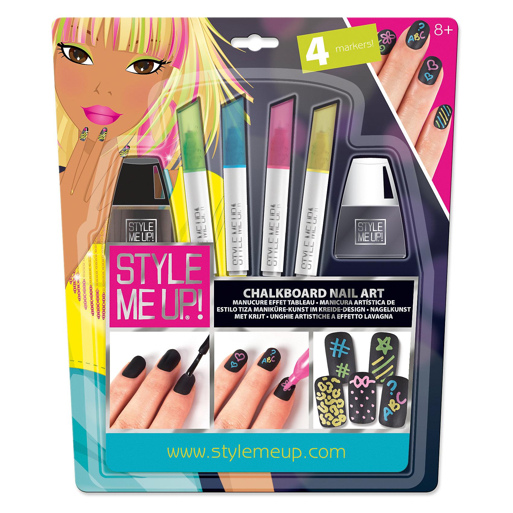 Набор Маникюр с цветными мелкамиКосметика, грим и парфюмерия<br>Если ты до сих пор думаешь, что ногти можно красить исключительно лаком для ногтей, то «Маникюр с цветными мелками» от STYLE ME UP! перечеркнет твои представления о маникюре и станет настоящим открытием!<br><br>Крась ногти лаком, а затем цветными мелками рисуй на них все, что только пожелаешь! Если изображение получилось неровным или появилась более интересная идея, просто сотри рисунок водой и скорее создавай новый шедевр!<br><br>В одном наборе так много интересного для реализации твоих творческих идей:<br>флакон черного лака для ногтей;<br>1 флакон прозрачного лака для ногтей;<br>3 маркера с жидким мелом голубого, розового и зеленого цветов;<br>иллюстрированные инструкции.<br><br>Ширина мм: 229<br>Глубина мм: 267<br>Высота мм: 20<br>Вес г: 167<br>Возраст от месяцев: 96<br>Возраст до месяцев: 192<br>Пол: Женский<br>Возраст: Детский<br>SKU: 4789499