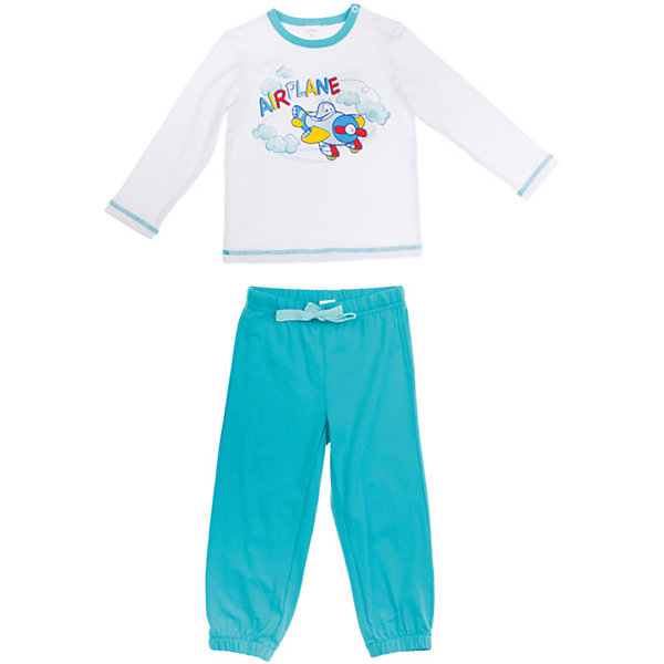 Комплект: футболка и штаны для мальчика PlayTodayКомплекты<br>Комплект для мальчика от известного бренда PlayToday<br>Комплект из футболки с длинными рукавами и спортивных брюк. Футболка украшена водным принтом с самолетом. Застегивается на кнопки на плече. Пояс и низ штанишек на мягкой резинке,<br>есть регулирующий шнурок.<br>Состав:<br>95% хлопок, 5% эластан<br><br>Ширина мм: 247<br>Глубина мм: 16<br>Высота мм: 140<br>Вес г: 225<br>Цвет: голубой<br>Возраст от месяцев: 12<br>Возраст до месяцев: 15<br>Пол: Мужской<br>Возраст: Детский<br>Размер: 80,74,92,86<br>SKU: 4789835