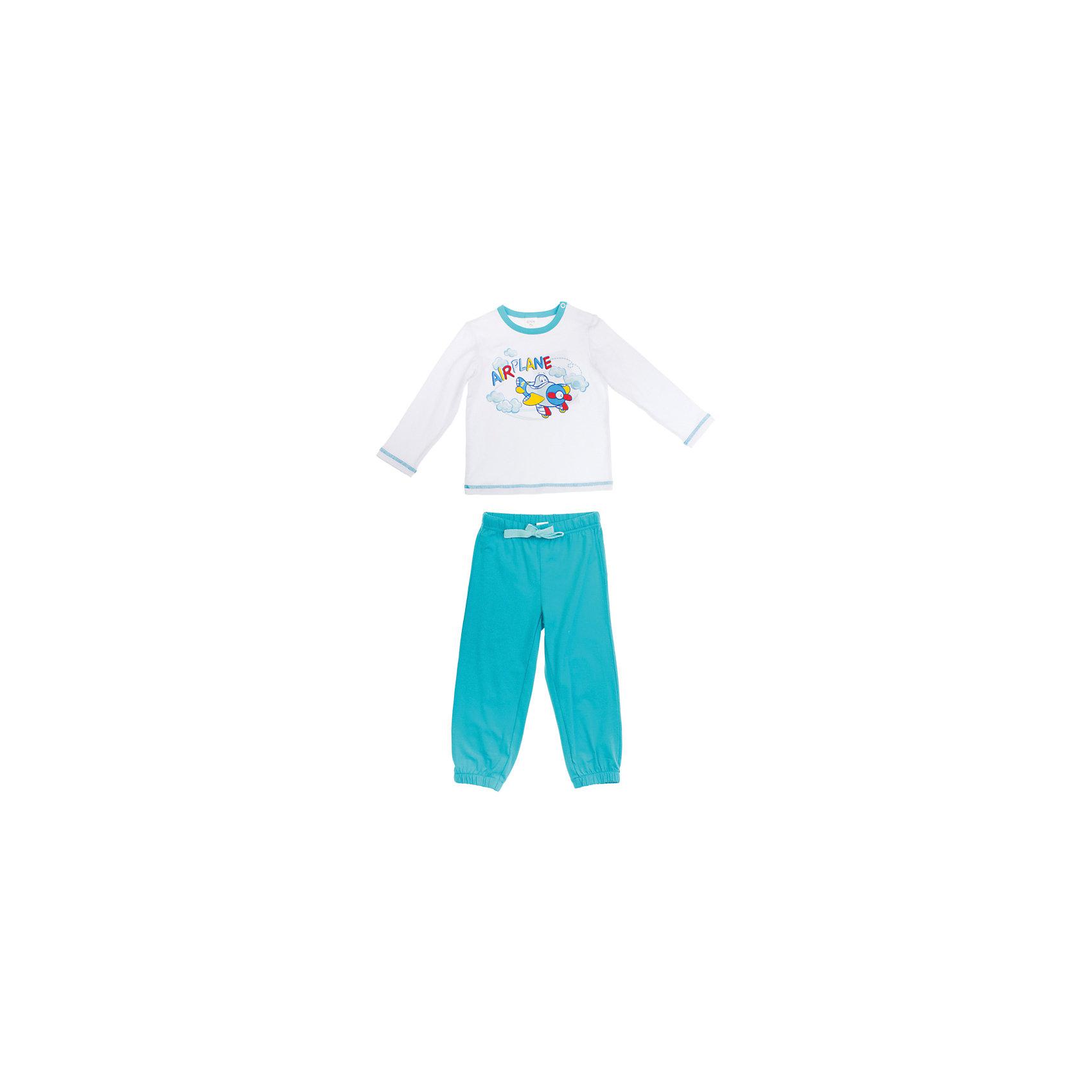 Комплект: футболка и штаны для мальчика PlayTodayКомплект для мальчика от известного бренда PlayToday<br>Комплект из футболки с длинными рукавами и спортивных брюк. Футболка украшена водным принтом с самолетом. Застегивается на кнопки на плече. Пояс и низ штанишек на мягкой резинке,<br>есть регулирующий шнурок.<br>Состав:<br>95% хлопок, 5% эластан<br><br>Ширина мм: 247<br>Глубина мм: 16<br>Высота мм: 140<br>Вес г: 225<br>Цвет: голубой<br>Возраст от месяцев: 6<br>Возраст до месяцев: 9<br>Пол: Мужской<br>Возраст: Детский<br>Размер: 74,92,80,86<br>SKU: 4789835