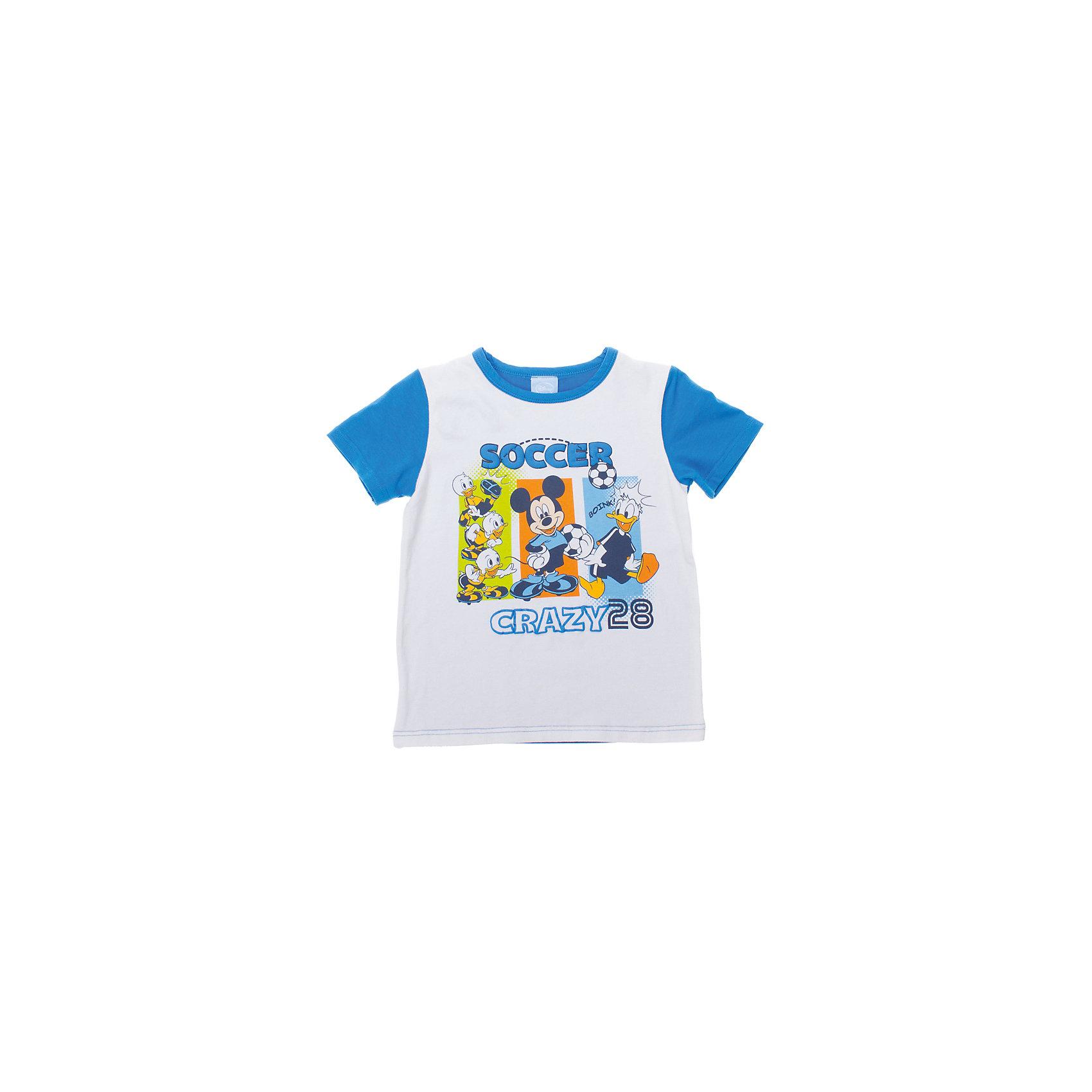 Футболка для мальчика PlayTodayФутболка для мальчика от известного бренда PlayToday<br>Мягкая хлопковая футболка с короткими рукавами. Украшена водным принтом с Микки-Маусом и Дональдом Даком. Рукава и спинка голубого цвета.<br>Состав:<br>95% хлопок, 5% эластан<br><br>Ширина мм: 199<br>Глубина мм: 10<br>Высота мм: 161<br>Вес г: 151<br>Цвет: розовый<br>Возраст от месяцев: 60<br>Возраст до месяцев: 72<br>Пол: Мужской<br>Возраст: Детский<br>Размер: 116,128,98,104,110,122<br>SKU: 4789887