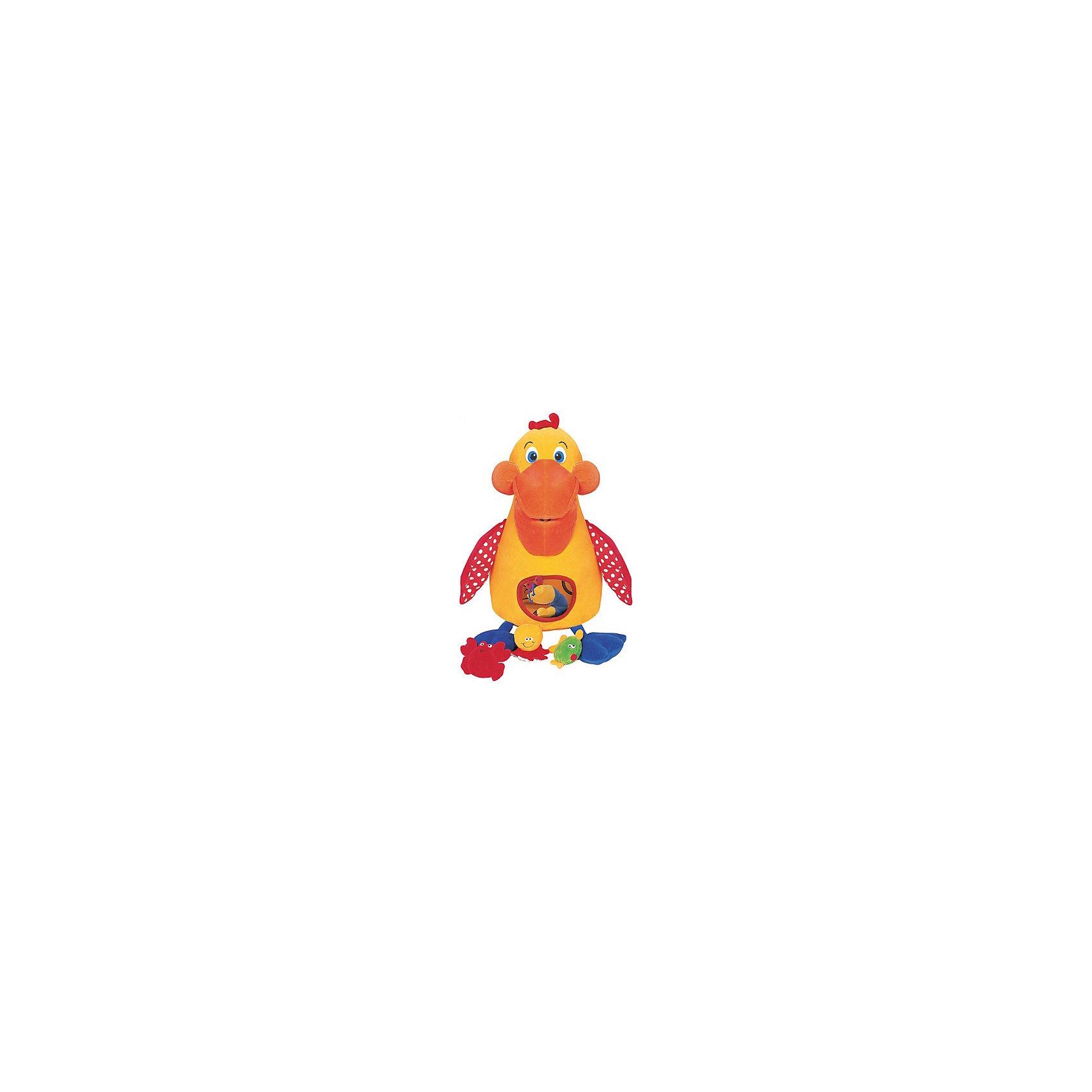 Голодный пеликан с игрушками, Ks KidsРазвивающие игрушки<br>Игрушка «Голодный» пеликан K's Kids (Кс Кидс) –  многофункциональная игрушка, которую можно использовать для домашних игр, а также она будет очень удобна для развлечения малыша в дальней поездке.  Комплект состоит из птицы-пеликана и его любимой пищи: рыбки, осьминога, креветки и краба. Каждая деталь этого набора наделена своим звуковым эффектом. Так, рыбка шуршит, осьминог пищит, а краб и креветка гремят. Сам пеликан изготовлен из мягкого текстильного материала с крыльями из шуршащего материала. У птицы большой мягкий клюв, через который он поглощает любимые лакомства. В щечках расположены пищалки, в лапках ? погремушки. В животе имеется отверстие, через которое можно без труда достать «съеденных» морских обитателей. <br>«Голодный» пеликан K's Kids (Кс Кидс) –  это развлечение с обучением. Ваш ребенок в легкой игровой форме познакомится с морскими обитателями и особенностями их жизни. Данная игрушка может использоваться в качестве подвески на детскую кроватку или стульчик для кормления.<br>Птица подарит вашему малышу богатство тактильных ощущений, научит координации движений и будет способствовать развитию цветовосприятия.<br><br>Дополнительная информация:<br><br>- Вид игр: подвижные, развивающие<br>- Предназначение: для дома, для поездки <br>- Дополнительные эффекты: звуковые ? шуршалки, пищалки, погремушки<br>- Материал: гипоаллергенный текстиль с различными фактурами<br>- Размер игрушки: пеликан ? 19*11*50 см; 4 морских обитателя: краб ?  3*11*7 см, осьминог ? 7*7*6 см, рыбка ? 3*10*9 см, креветка ? 4*8*7 см. <br>- Вес: 500 гр.<br>- Особенности ухода за игрушкой: разрешена деликатная стирка <br><br>Подробнее:<br><br>• Для детей в возрасте: от 0 месяцев до 1 года<br>• Страна производитель: Китай<br>• Торговый бренд: Ks Kids (Кс Кидс)<br><br>Игрушку «Голодный» пеликан, Ks Kids (Кс Кидс) можно купить в нашем интернет-магазине.<br><br>Ширина мм: 350<br>Глубина мм: 130<br>Высота мм: 360<br>Вес г: 880<br>Возр