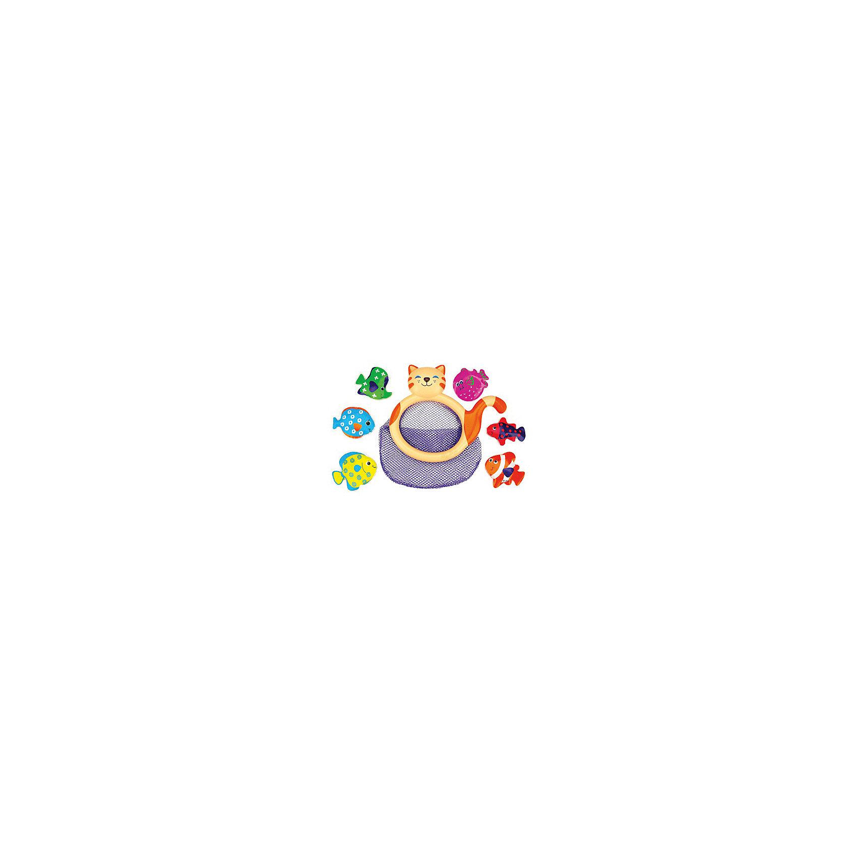 Кошка-сачок Мими для купания, Ks KidsКошка-сачок Мими для купания, Ks Kids (Кс Кидс) ? увлекательная игрушка для купания. В комплект входит сачок в форме кошки и 6 ярких разноцветных рыбок. Играть в эту игру можно разными способами: либо отлавливать сачком плавающих на поверхности воды рыбок, либо закрепить сачок сбоку ванной (это позволяет сделать имеющаяся на тыльной стороне присоска) и складывать в него пойманных руками рыбок. Рыбки легко плавают на поверхности за счет материала, из которого они изготовлены: плотная немного надутая клеенка. <br>Кошка-сачок Мими для купания достаточно практичная игрушка, ее можно использовать как сетку для хранения и других игрушек для купания, достаточно прикрепить ее на кафельную плитку.<br>Игра кошка-сачок Мими для купания, Ks Kids (Кс Кидс) развивает ловкость, точность движений, внимательность, учит терпеливо достигать своей цели.<br><br>Дополнительная информация:<br><br>- Вид игр: подвижные игры в воде<br>- Предназначение: для дома, для улицы<br>- Дополнительные функции: можно использовать как контейнер для хранения всех игрушек для купания<br>- Материал: пластик, текстиль, плотная клеенка (рыбки)<br>- Размер: сачок 22*2*18 см (диаметр 22 см); рыбки 7,5*1,5*6 см<br>- Вес: 190 г<br>- Комплектация: сачок-кошка, 6 разноцветных рыбок<br>- Особенности ухода: разрешается мыть в теплой мыльной воде<br><br>Подробнее:<br><br>• Для детей в возрасте: от 1 года до 3 лет<br>• Страна производитель: Китай<br>• Торговый бренд: Ks Kids (Кс Кидс)<br><br>Кошку-сачок Мими для купания, Ks Kids (Кс Кидс) можно купить в нашем интернет-магазине.<br><br>Ширина мм: 220<br>Глубина мм: 200<br>Высота мм: 20<br>Вес г: 116<br>Возраст от месяцев: 12<br>Возраст до месяцев: 36<br>Пол: Унисекс<br>Возраст: Детский<br>SKU: 4790443