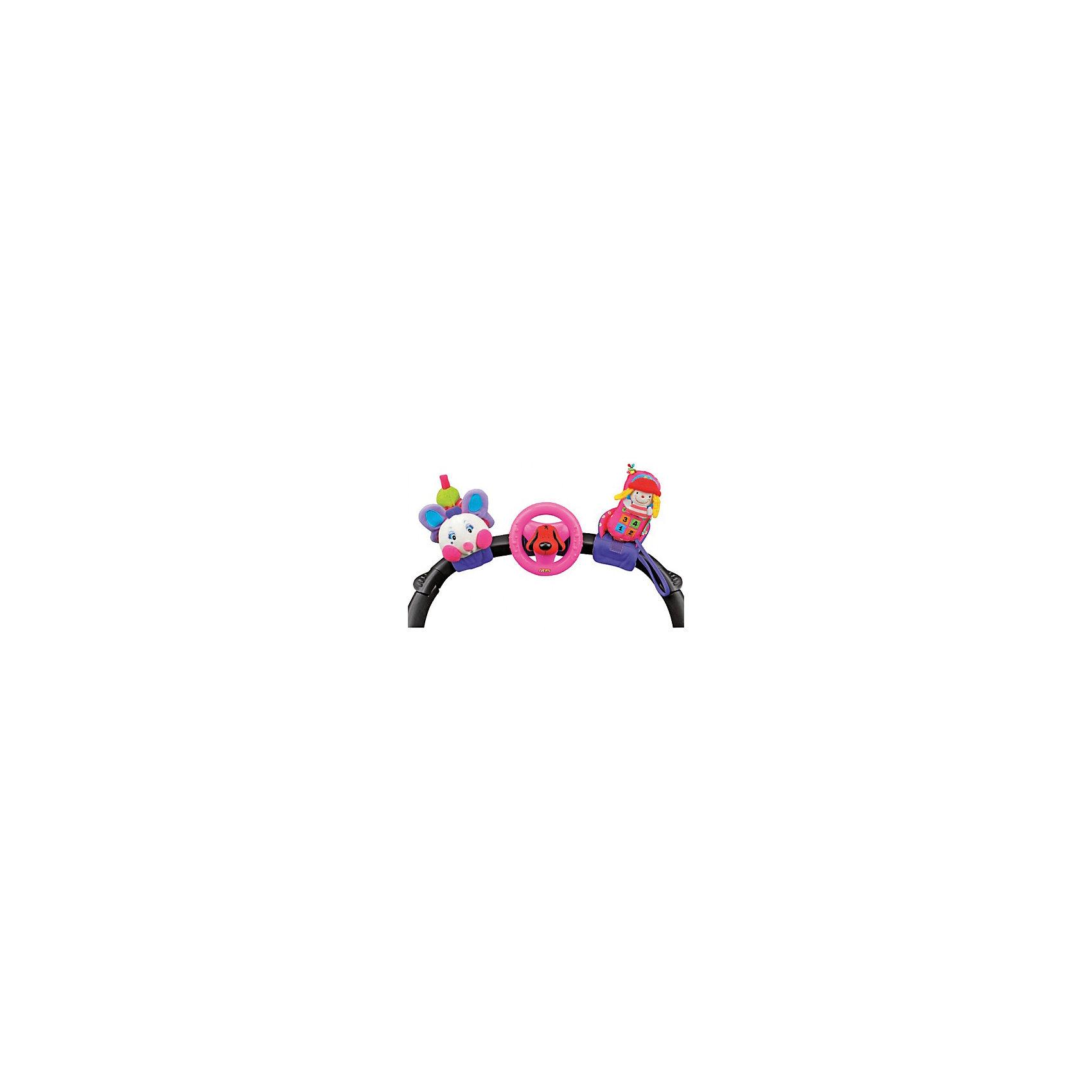 Набор игрушек для коляски: гусеничка, руль, телефон, Ks KidsПодвески<br>Набор игрушек для коляски: гусеничка, руль, телефон, Ks Kids (Кс Кидс) ? универсальные игрушки, которые можно прикрепить к бортикам кроватки, на ручку коляски. Легкие по весу с безопасными креплениями-липучками эти игрушки можно надевать на ручки ребенка. В комплект входят три игрушки: руль, гусеничка и телефон. Каждая игрушка оснащена звуковыми эффектами: гусеничка шуршит и вибрирует, руль вращается и при нажатии издает звук клаксона, а телефон бренчит за счет встроенной в него погремушки.<br>Игрушки набора Ks Kids можно использовать отдельно. Изготовлены из безопасных и нетоксичных материалов. Разнообразная текстура игрушек позволит развивать тактильное восприятие, а яркие цвета будут формировать у малыша зрительное восприятие.<br>Прогулки с  набором игрушек для коляски: гусеничка, руль, телефон, Ks Kids (Кс Кидс) станут увлекательными даже для тех малышей, которые не любят сидеть в коляске.<br><br>Дополнительная информация:<br><br>- Вид игр: развивающие игры<br>- Предназначение: для дома, для улицы<br>- Материал: текстиль, пластик<br>- Размер: руль 12*12*10 см; гусеничка 9*15*11 см; телефон 8*13*8,5 см<br>- Вес всего комплекта: 450 г<br>- Комплектация: гусеничка, руль, телефон<br>- Особенности ухода: ручная стирка или машинная на режиме деликатной стирки, пластиковый руль можно мыть в теплой мыльной воде <br><br>Подробнее:<br><br>• Для детей в возрасте: от 0 месяцев до 1 года<br>• Страна производитель: Китай<br>• Торговый бренд: Ks Kids (Кс Кидс)<br><br>Набор игрушек для коляски: гусеничка, руль, телефон, Ks Kids (Кс Кидс) можно купить в нашем интернет-магазине.<br><br>Ширина мм: 343<br>Глубина мм: 145<br>Высота мм: 120<br>Вес г: 450<br>Возраст от месяцев: 0<br>Возраст до месяцев: 12<br>Пол: Женский<br>Возраст: Детский<br>SKU: 4790447