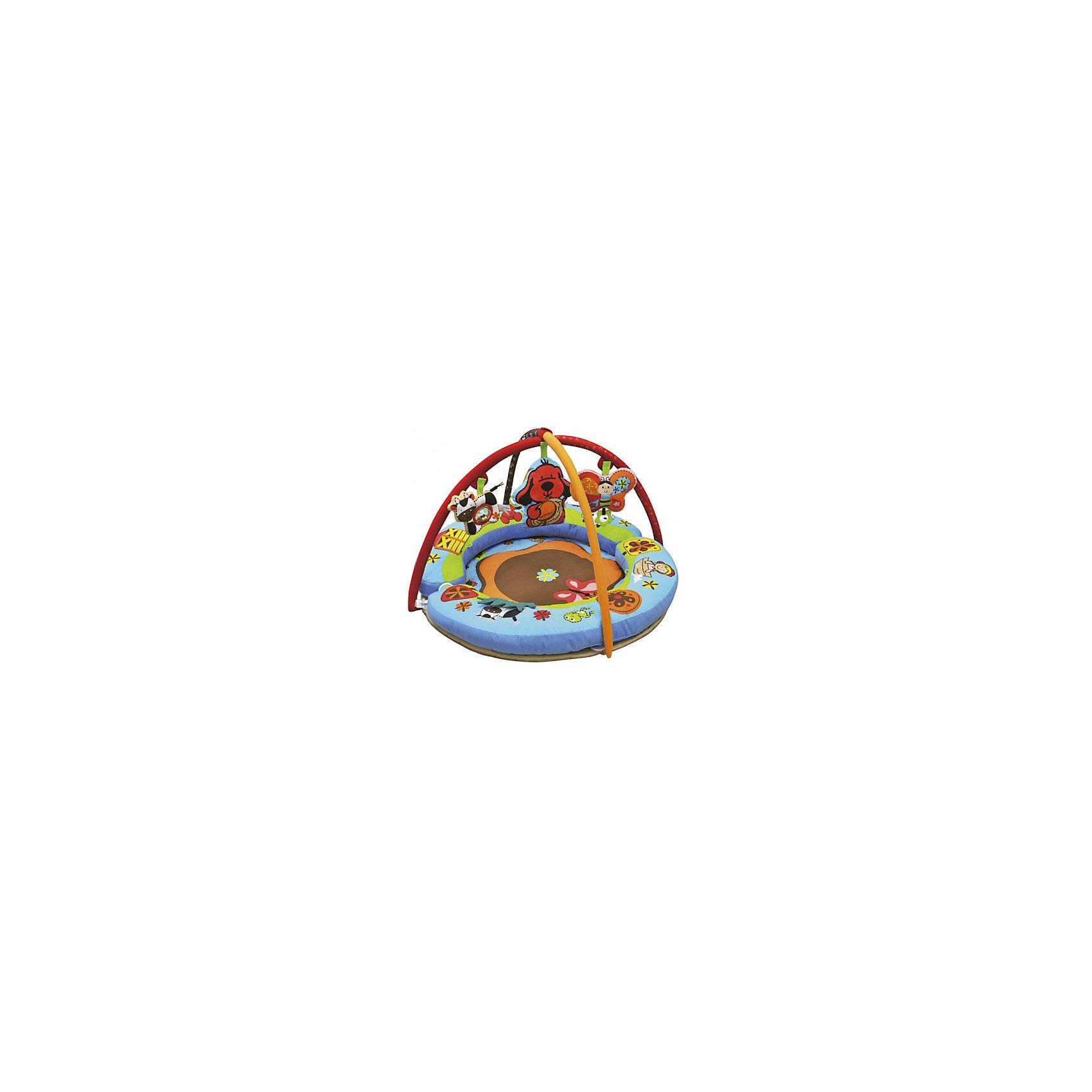 Развивающий коврик Полянка чудес, Ks KidsРазвивающие коврики<br>Развивающий коврик Полянка чудес, Ks Kids (Кс Кидс) предназначен для организации игрового пространства для самых маленьких. Особенность этого коврика, среди подобных, заключается в его конструкции: в комплект входят две подушки дугообразной формы, которые в собранном виде образуют круг, благодаря этим бортикам, коврик становится безопасным даже для тех малышей, которые уже научились переворачиваться. Яркие съемные игрушки, которые подвешиваются на дуги, позволят совершенствовать малышу хватательные рефлексы и развивать зрение. Яркие крупные рисунки создают веселое настроение. У коврика есть несколько секретов: открывающиеся и отгибающиеся текстильные элементы, под которыми прячутся различные обитатели веселой полянки.<br>Развивающий коврик Полянка чудес, Ks Kids (Кс Кидс) растет вместе с вашим малышом. Когда ребенок начнет учиться сидеть, валики-подушки можно трансформировать в удобное сиденье. Каждая из трех подвесных игрушек имеет свой звуковой эффект и может использоваться в качестве самостоятельной игрушки-погремушки.<br><br><br>Дополнительная информация:<br><br>- Вид игр: развивающие<br>- Предназначение: для дома<br>- Материал: текстиль, пластик<br>- Размер: диаметр 90 см<br>- Вес: 3 кг 175 г<br>- Комплектация: две дуги, три подвесные игрушки: бабочка, щенок Патрик, коровка<br>- Особенности ухода: разрешается деликатная стирка <br><br>Подробнее:<br><br>• Для детей в возрасте: от 0 месяцев до 1 года<br>• Страна производитель: Китай<br>• Торговый бренд: Ks Kids<br><br>Развивающий коврик Полянка чудес, Ks Kids (Кс Кидс) можно купить в нашем интернет-магазине.<br><br>Ширина мм: 750<br>Глубина мм: 590<br>Высота мм: 220<br>Вес г: 3175<br>Возраст от месяцев: 0<br>Возраст до месяцев: 12<br>Пол: Унисекс<br>Возраст: Детский<br>SKU: 4790452