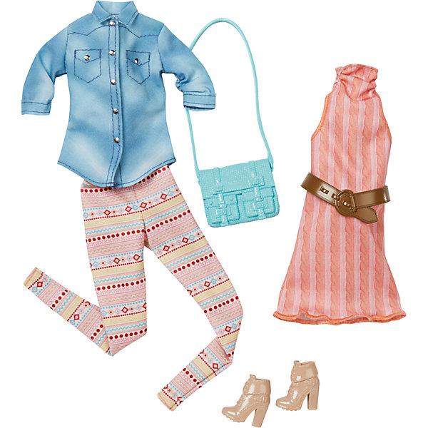 Набор модной одежды, BarbieОдежда для кукол<br>Набор одежды для куклы Barbie (Барби) - отличный вариант подарка для любительницы этих кукол. В набор входят два сочетающихся между собой комплекта одежды (всего 4 предмета) по мотивам реальных модных тенденций, пара туфель и элегантная сумочка. Предметы из разных комплектов можно комбинировать, создавая новые шикарные образы для любимой куклы.<br>Такие игрушки помогают развить мелкую моторику, логическое мышление и воображение ребенка. Эта игрушка выполнена из текстиля и высококачественного прочного пластика, безопасного для детей, отлично детализирована.<br><br>Дополнительная информация:<br><br>комплектация: два комплекта одежды (всего 4 предмета), пара туфель и сумочка; <br>цвет: разноцветный;<br>материал: пластик, текстиль;<br>размер упаковки: 27,5 х 2,5 х 25,5 см;<br>кукла продается отдельно!<br><br>Набор модной одежды, Barbie от компании Mattel можно купить в нашем магазине.<br>Ширина мм: 283; Глубина мм: 253; Высота мм: 27; Вес г: 114; Возраст от месяцев: 36; Возраст до месяцев: 8; Пол: Женский; Возраст: Детский; SKU: 4791074;