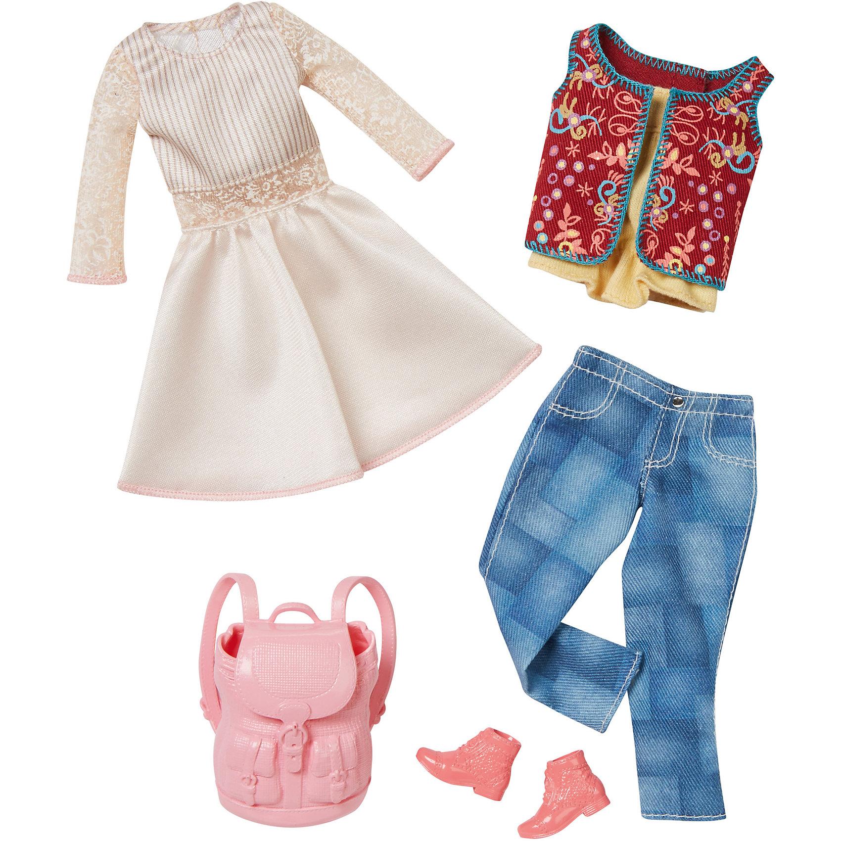 Набор модной одежды, BarbieНабор одежды для куклы Barbie (Барби) - отличный вариант подарка для любительницы этих кукол. В набор входят два сочетающихся между собой комплекта одежды (всего 4 предмета) по мотивам реальных модных тенденций, пара туфель и элегантная сумочка. Предметы из разных комплектов можно комбинировать, создавая новые шикарные образы для любимой куклы.<br>Такие игрушки помогают развить мелкую моторику, логическое мышление и воображение ребенка. Эта игрушка выполнена из текстиля и высококачественного прочного пластика, безопасного для детей, отлично детализирована.<br><br>Дополнительная информация:<br><br>комплектация: два комплекта одежды (всего 4 предмета), пара туфель и сумочка; <br>цвет: разноцветный;<br>материал: пластик, текстиль;<br>размер упаковки: 27,5 х 2,5 х 25,5 см;<br>кукла продается отдельно!<br><br>Набор модной одежды, Barbie от компании Mattel можно купить в нашем магазине.<br><br>Ширина мм: 283<br>Глубина мм: 253<br>Высота мм: 27<br>Вес г: 114<br>Возраст от месяцев: 36<br>Возраст до месяцев: 8<br>Пол: Женский<br>Возраст: Детский<br>SKU: 4791076