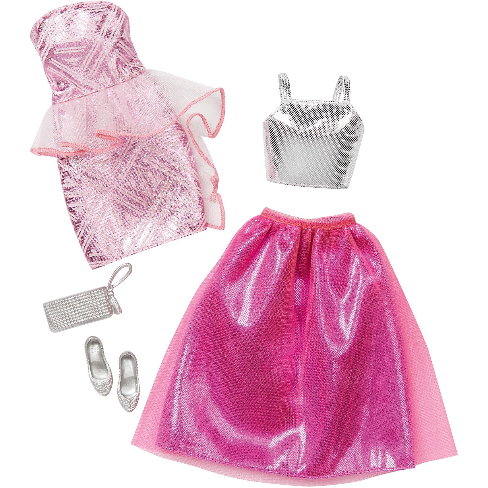 Набор модной одежды, BarbieBarbie<br>Набор одежды для куклы Barbie (Барби) - отличный вариант подарка для любительницы этих кукол. В набор входят два сочетающихся между собой комплекта одежды (всего 4 предмета) по мотивам реальных модных тенденций, пара туфель и элегантная сумочка. Предметы из разных комплектов можно комбинировать, создавая новые шикарные образы для любимой куклы.<br>Такие игрушки помогают развить мелкую моторику, логическое мышление и воображение ребенка. Эта игрушка выполнена из текстиля и высококачественного прочного пластика, безопасного для детей, отлично детализирована.<br><br>Дополнительная информация:<br><br>комплектация: два комплекта одежды (всего 4 предмета), пара туфель и сумочка; <br>цвет: разноцветный;<br>материал: пластик, текстиль;<br>размер упаковки: 27,5 х 2,5 х 25,5 см;<br>кукла продается отдельно!<br><br>Набор модной одежды, Barbie от компании Mattel можно купить в нашем магазине.<br><br>Ширина мм: 283<br>Глубина мм: 253<br>Высота мм: 27<br>Вес г: 114<br>Возраст от месяцев: 36<br>Возраст до месяцев: 8<br>Пол: Женский<br>Возраст: Детский<br>SKU: 4791077