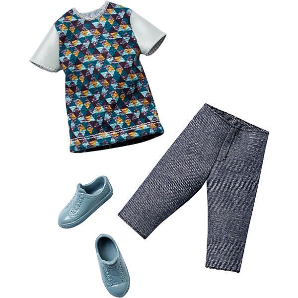 Одежда для Кена, BarbieОдежда для кукол<br>Набор одежды для друга куклы Barbie - Кена - отличный вариант подарка для любительницы этих кукол. В набор входят стильная футболка (рубашка), шорты (брюки) и обувь. Предметы из разных комплектов можно комбинировать, создавая новые шикарные образы для любимой куклы.<br>Такие игрушки помогают развить мелкую моторику, логическое мышление и воображение ребенка. Эта игрушка выполнена из текстиля и высококачественного прочного пластика, безопасного для детей, отлично детализирована.<br><br>Дополнительная информация:<br><br>комплектация: стильная футболка (рубашка), шорты (брюки) и обувь, пара туфель; <br>цвет: разноцветный;<br>материал: пластик, текстиль;<br>кукла продается отдельно!<br><br>Одежду для Кена, Barbie от компании Mattel можно купить в нашем магазине.<br>Ширина мм: 258; Глубина мм: 114; Высота мм: 17; Вес г: 33; Возраст от месяцев: 36; Возраст до месяцев: 96; Пол: Женский; Возраст: Детский; SKU: 4791082;
