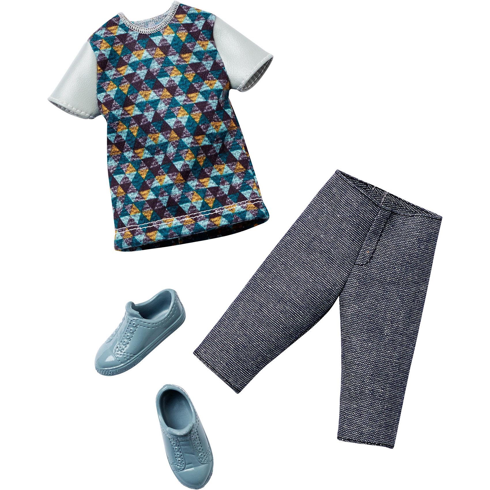 Одежда для Кена, BarbieНабор одежды для друга куклы Barbie - Кена - отличный вариант подарка для любительницы этих кукол. В набор входят стильная футболка (рубашка), шорты (брюки) и обувь. Предметы из разных комплектов можно комбинировать, создавая новые шикарные образы для любимой куклы.<br>Такие игрушки помогают развить мелкую моторику, логическое мышление и воображение ребенка. Эта игрушка выполнена из текстиля и высококачественного прочного пластика, безопасного для детей, отлично детализирована.<br><br>Дополнительная информация:<br><br>комплектация: стильная футболка (рубашка), шорты (брюки) и обувь, пара туфель; <br>цвет: разноцветный;<br>материал: пластик, текстиль;<br>кукла продается отдельно!<br><br>Одежду для Кена, Barbie от компании Mattel можно купить в нашем магазине.<br><br>Ширина мм: 258<br>Глубина мм: 114<br>Высота мм: 17<br>Вес г: 33<br>Возраст от месяцев: 36<br>Возраст до месяцев: 96<br>Пол: Женский<br>Возраст: Детский<br>SKU: 4791082