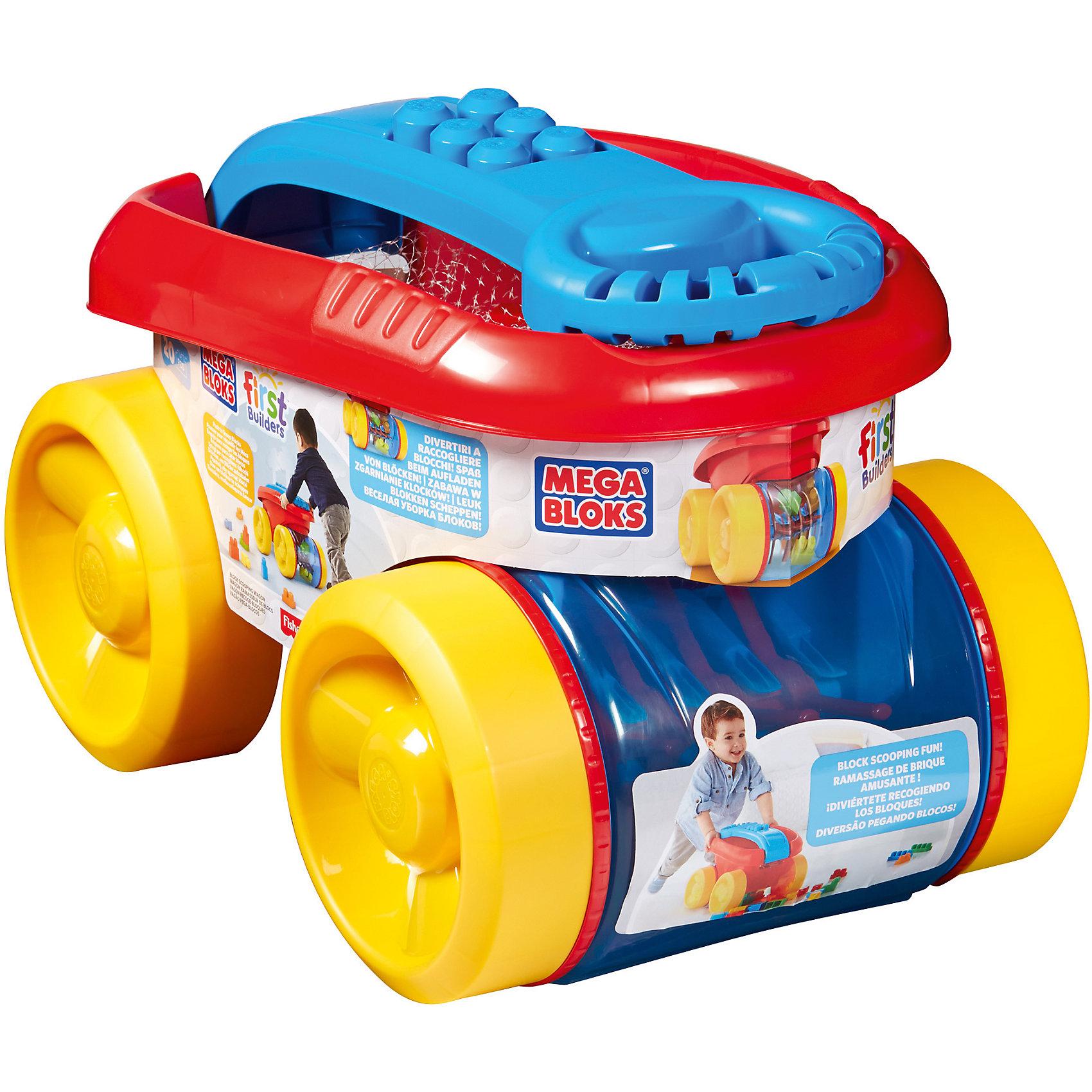 Тележка для деталей MEGA BLOKS First BuildersТележка для деталей MEGA BLOKS First Builders - отличный подарок ребенку. Это красочная игрушка, которая обязательно понравится малышу. Она подойдет для игр и хранения деталей и аксессуаров из серии конструкторов Mega Bloks. Игрушка имеет внушительные размеры, вместительный кузов и большие широкие колеса, которые позволяют легко катать ее по любой поверхности. Тележка вмещает двадцать разноцветных блоков конструктора, входящих в комплект. Игрушка оснащена удобной для ребенка складной эргономичной ручкой. Специальный отсек  тележки сам собирает разбросанные по полу детали. Ребенку достаточно толкать перед собой игрушку, и блоки сами будут заскакивать внутрь и забавно крутиться в прозрачном отсеке.<br>Такие игрушки помогают развить мелкую моторику, логическое мышление и воображение ребенка. Эта игрушка выполнена из высококачественного прочного пластика, безопасного для детей.<br>  <br>Дополнительная информация:<br><br>цвет: разноцветный;<br>материал: пластик;<br>комплектация: тележка, 20 блоков First Builders;<br>вес: 2 кг;<br>размер упаковки: 28,5 x 44 x 30,5 см.<br><br>Тележку для деталей MEGA BLOKS First Builders от компании Mattel можно купить в нашем магазине.<br><br>Ширина мм: 456<br>Глубина мм: 309<br>Высота мм: 312<br>Вес г: 1944<br>Возраст от месяцев: 12<br>Возраст до месяцев: 60<br>Пол: Унисекс<br>Возраст: Детский<br>SKU: 4791147