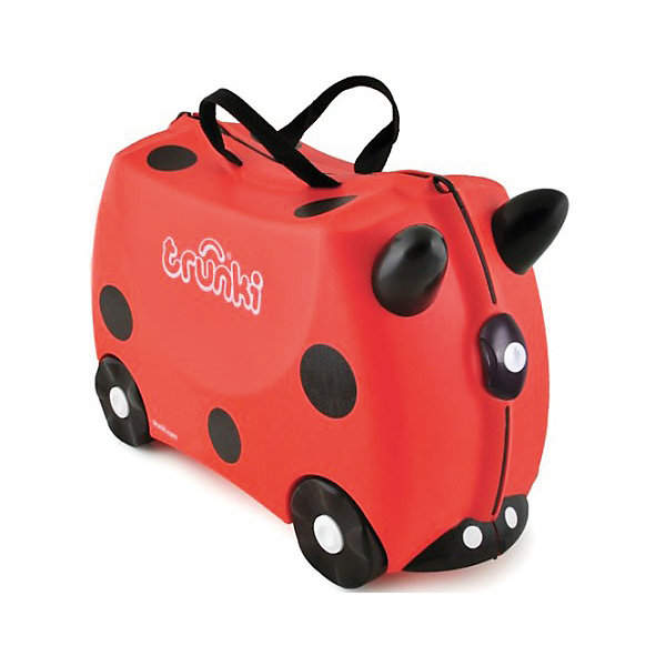Чемодан на колесиках Божья коровкаДорожные сумки и чемоданы<br>Вместительный, удобный чемодан Божья коровка - замечательный вариант для маленьких путешественников. Оригинальный чемодан выполнен из прочного пластика в виде забавной божьей коровки с черными пятнышками и рожками. Размеры позволяют брать его в самолет как ручную кладь. Чемоданчик может использоваться как детский стульчик и как оригинальное средство передвижения. Благодаря надежным колесикам, удобной конструкции седла и стабилизаторам малыш ездит на чемодане как на каталке, отталкиваясь ножками и держась за рожки.<br><br>Чемодан оснащен удобными ручками для переноски и надежным замком с ключиком. С помощью ручного буксировочного ремня божью коровку можно везти по полу или нести на плече. Внутри просторное двустворчатое отделение для одежды и дорожных принадлежностей с ремнями для фиксации одежды, а также потайные секретные отсеки для мелочей. Все детали выполнены из экологически чистых, безопасных для детского здоровья материалов. Собственный чемодан для путешествий позволит ребенку почувствовать себя взрослым и самостоятельным.<br><br>Дополнительная информация:<br><br>- Материал: высококачественный пластик.<br>- Объем: 18 л.<br>- Максимальная нагрузка: 45 кг.<br>- Кол-во колес: 4 колеса.<br>- Размер чемодана: 46 х 20,5 х 31 см.<br>- Вес: 1,7 кг.<br><br>Чемодан на колесиках Божья коровка, Trunki, можно купить в нашем интернет-магазине.<br>Ширина мм: 480; Глубина мм: 350; Высота мм: 240; Вес г: 2200; Возраст от месяцев: 36; Возраст до месяцев: 72; Пол: Унисекс; Возраст: Детский; SKU: 4792409;