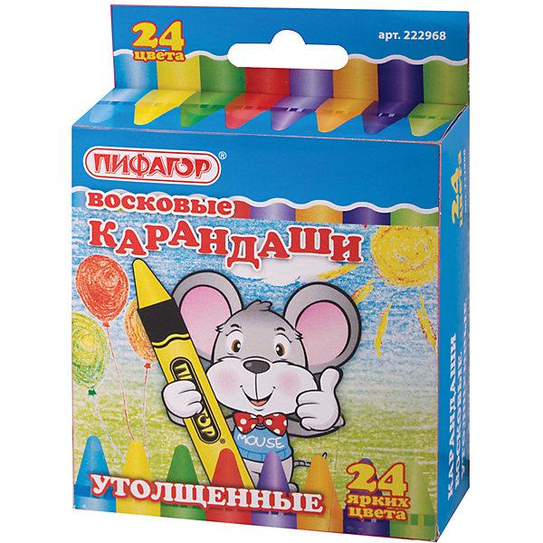Восковые утолщенные карандаши, 24 цв., ПифагорМасляные и восковые мелки<br>Восковые карандаши идеально подходят для детского творчества. Предназначены для рисования на бумаге любого типа, дереве, картоне и стекле. Увеличенный диаметр карандаша удобен для маленьких детей. <br><br>Пусть юный художник развивает свою фантазию!<br><br>Дополнительная информация: <br><br>- 24 цвета.<br>- Диаметр - 11 мм.<br>- Картонная упаковка с европодвесом.<br>- Размер упаковки: 3,5х9х10,5 см.<br>- Вес в упаковке: 277 г.<br><br>Восковые карандаши Пифагор можно купить в нашем магазине.<br><br>Ширина мм: 35<br>Глубина мм: 90<br>Высота мм: 105<br>Вес г: 277<br>Возраст от месяцев: 72<br>Возраст до месяцев: 2147483647<br>Пол: Унисекс<br>Возраст: Детский<br>SKU: 4792651