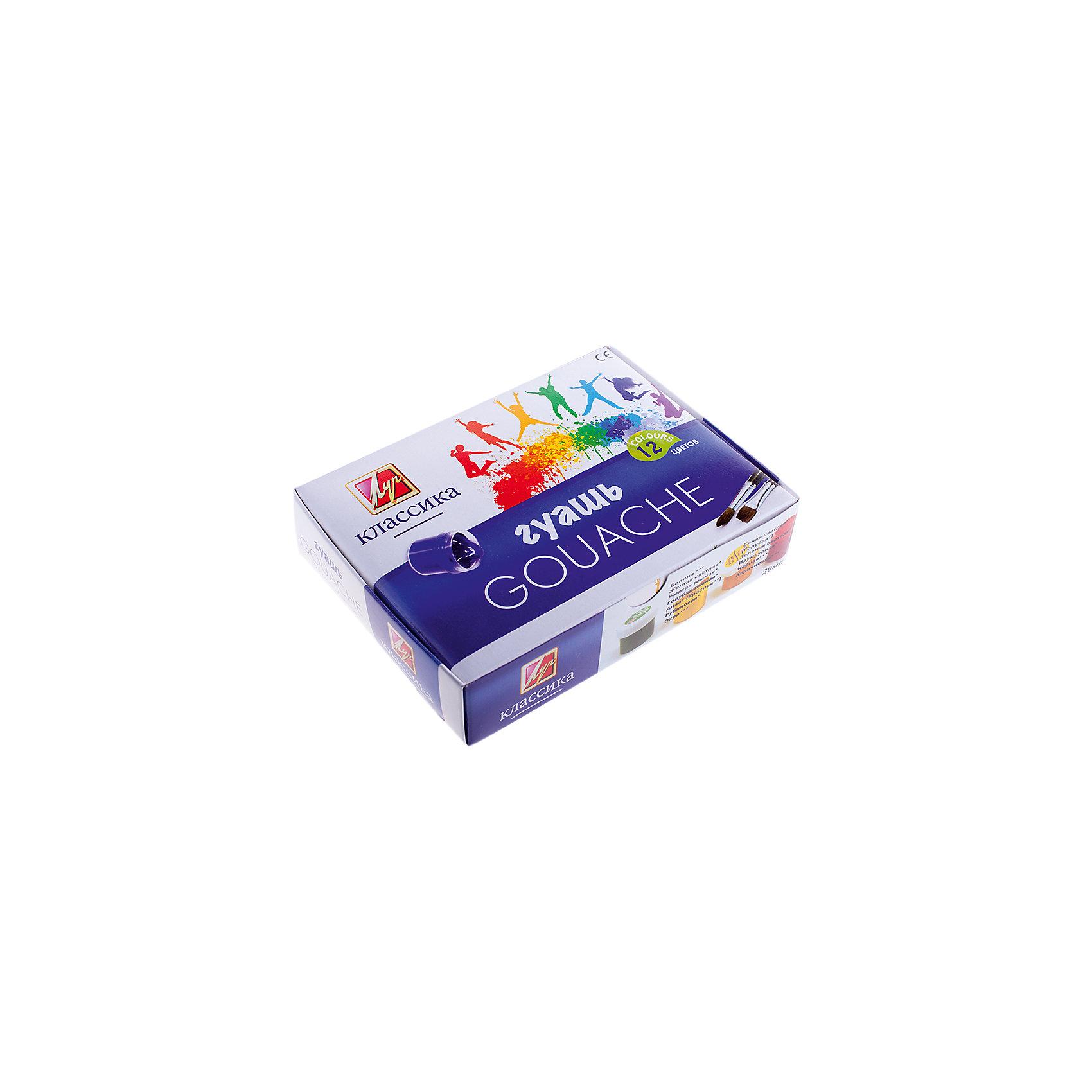 Гуашь Классика, 12 цв., 20 мл, ЛучРисование и лепка<br>Гуашь Классика предназначена для детского творчества, выполнения художественно-декоративных, оформительских работ. Краски изготовлены на основе натуральных компонентов, отличаются насыщенностью и чистотой цвета и хорошей кроющей способностью.<br><br>Гуашь обладает следующими потребительскими свойствами:<br>- насыщенность и чистота цвета; <br>- превосходная кроющая способность; <br>- хорошая разносимость; <br>- равномерность нанесения на поверхность; <br>- легкая наполняемость кисти; <br>- краски смешиваются между собой, создавая новые чистые оттенки. <br><br>При высыхании приобретают матово-бархатистую поверхность. <br><br>Абсолютно безвредны, соответствуют европейским стандартам безопасности .<br><br>Дополнительная информация: <br><br>- 12 цветов, по 20 мл.<br>- Размер упаковки: 11х15х4,2 см.<br>- Вес в упаковке: 460 г.<br><br>Гуашь Классика можно купить в нашем магазине.<br><br>Ширина мм: 110<br>Глубина мм: 150<br>Высота мм: 42<br>Вес г: 460<br>Возраст от месяцев: 72<br>Возраст до месяцев: 2147483647<br>Пол: Унисекс<br>Возраст: Детский<br>SKU: 4792656