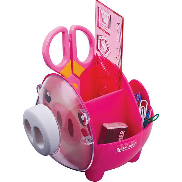 Канцелярский детский набор Пигги, 4 предметаШкольные аксессуары<br>Милый и яркий настольный набор из высококачественного яркого пластика в форме поросенка позволяет эргономично и весело организовать место для учебы и развлечений ребенка.<br><br>В наборе 4 предмета: пластиковые ножницы с безопасными закругленными лезвиями; линейка с трафаретами; скрепки, ластик.<br>Цвет - ассорти.<br><br>Дополнительная информация:<br><br>- Цвет - ассорти.<br>- Размер упаковки: 12х22х18 см.<br>- Вес в упаковке: 298 г. <br><br>Канцелярский детский набор Пигги можно купить в нашем магазине.<br>Ширина мм: 120; Глубина мм: 220; Высота мм: 180; Вес г: 298; Возраст от месяцев: 72; Возраст до месяцев: 2147483647; Пол: Унисекс; Возраст: Детский; SKU: 4792661;