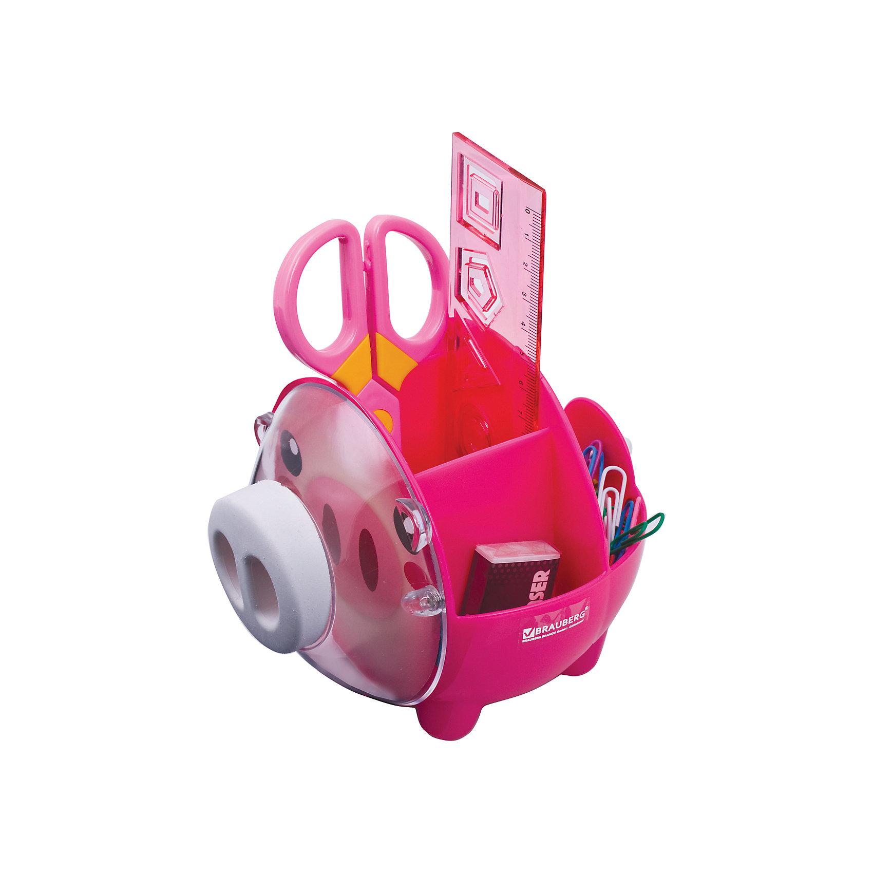 Канцелярский детский набор Пигги, 4 предметаШкольные аксессуары<br>Милый и яркий настольный набор из высококачественного яркого пластика в форме поросенка позволяет эргономично и весело организовать место для учебы и развлечений ребенка.<br><br>В наборе 4 предмета: пластиковые ножницы с безопасными закругленными лезвиями; линейка с трафаретами; скрепки, ластик.<br>Цвет - ассорти.<br><br>Дополнительная информация:<br><br>- Цвет - ассорти.<br>- Размер упаковки: 12х22х18 см.<br>- Вес в упаковке: 298 г. <br><br>Канцелярский детский набор Пигги можно купить в нашем магазине.<br><br>Ширина мм: 120<br>Глубина мм: 220<br>Высота мм: 180<br>Вес г: 298<br>Возраст от месяцев: 72<br>Возраст до месяцев: 2147483647<br>Пол: Унисекс<br>Возраст: Детский<br>SKU: 4792661