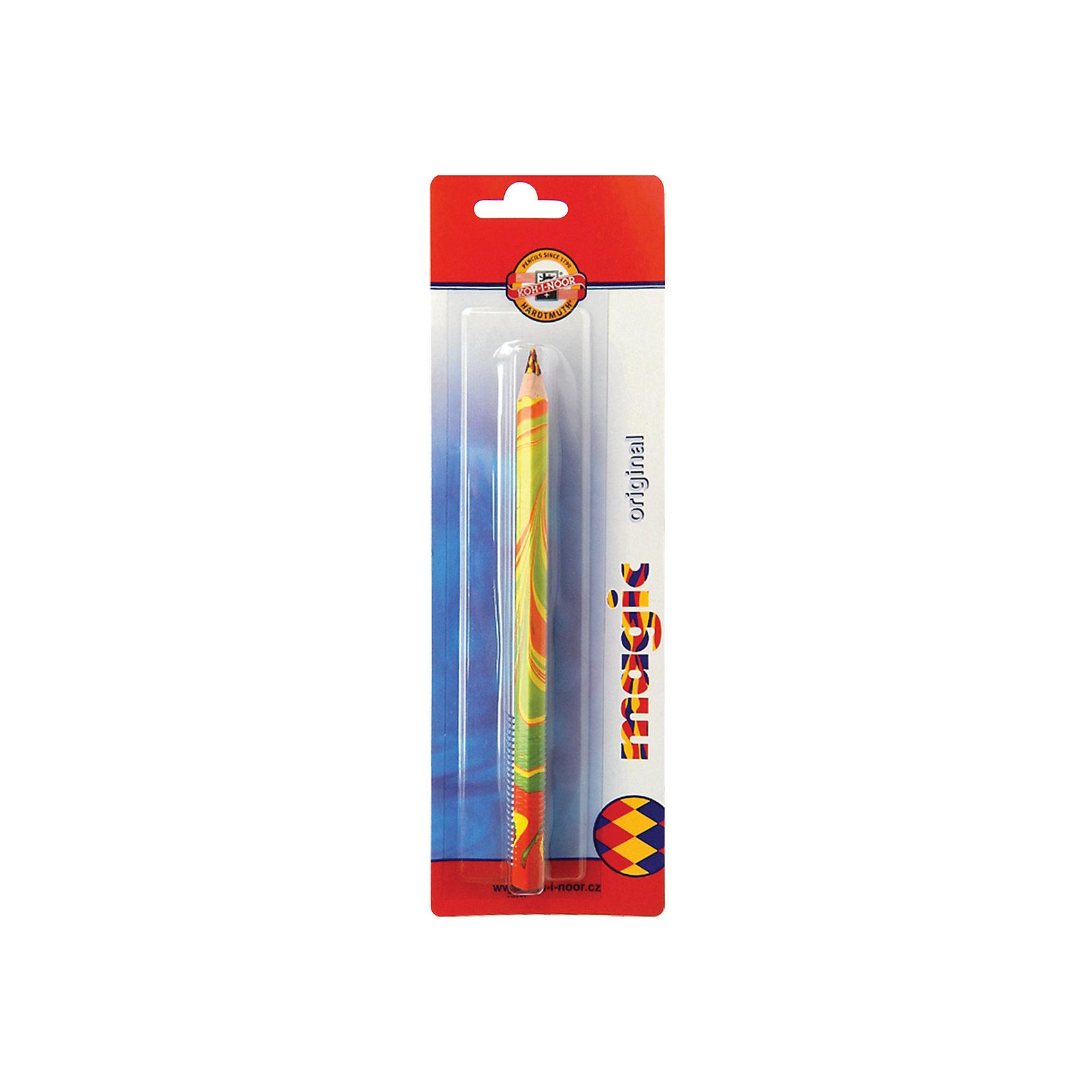 Карандаш с многоцветным грифелем Magic Original, KOH-I-NOORВысококачественный утолщенный карандаш для рисования с многоцветным грифелем. Цвета грифеля - красный, желтый, синий. Лакированный деревянный корпус. Заточен. Шестигранный. <br><br>Дополнительная информация: <br><br>- Диаметр грифеля - 5,6 мм.<br>- Утолщенный (диаметр корпуса - 10 мм). <br>- Размер  упаковки: 1,1х25х8 см.<br>- Вес в упаковке: 20 г.<br><br>Карандаш с многоцветным грифелем Magic Original можно купить в нашем магазине.<br><br>Ширина мм: 11<br>Глубина мм: 250<br>Высота мм: 80<br>Вес г: 20<br>Возраст от месяцев: 72<br>Возраст до месяцев: 2147483647<br>Пол: Унисекс<br>Возраст: Детский<br>SKU: 4792663