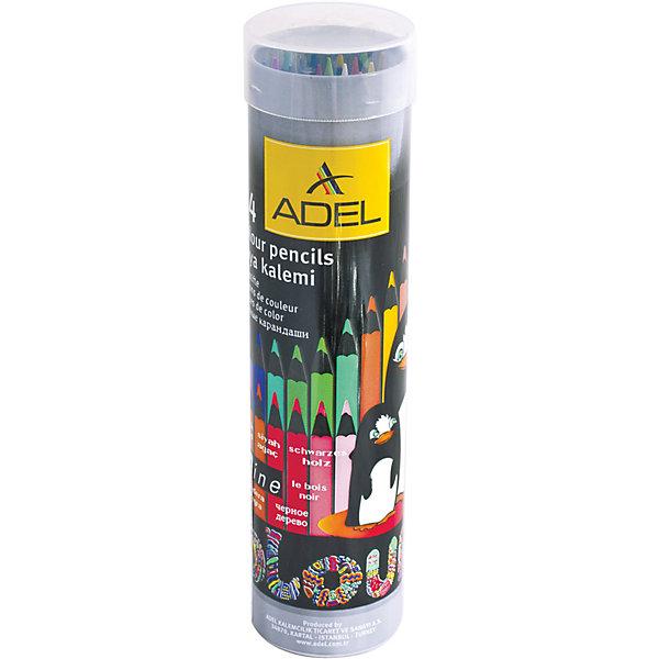 Цветные карандаши Adel Colour, 24 цв.Цветные<br>Заточенные цветные карандаши в красочном алюминиевом тубусе, с изображением очаровательных пингвинов. Изготовлены по специальной технологии, предохраняющей грифель от поломки.<br><br>Дополнительная информация:<br><br>- 24 цвета.<br>- Изготовлены из черного дерева.<br>- Яркие насыщенные цвета.<br>- Упаковка - алюминиевый тубус.<br>- Размер упаковки: 4,5х4,5х18,5 см.<br>- Вес в упаковке: 182 г.<br><br>Цветные карандаши Adel Colour 24 цвета можно купить в нашем магазине.<br>Ширина мм: 45; Глубина мм: 45; Высота мм: 185; Вес г: 182; Возраст от месяцев: 72; Возраст до месяцев: 2147483647; Пол: Унисекс; Возраст: Детский; SKU: 4792664;