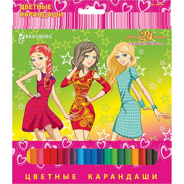 Цветные карандаши Pretty Girls, 24 цв., BraubergЦветные<br>В наборе 24 карандаша, изготовленных из древесины ценных пород. Благодаря высококачественному грифелю, рисунок ляжет на бумагу густо, сплошной и четкой линией, при этом не крошась и не царапая бумагу. Изображение на упаковке имеет отделку блестками.<br>Такие яркие карандаши непременно понравятся Вашему ребенку!<br><br>Дополнительная информация: <br><br>- 24 цвета.<br>- Диаметр грифеля - 3 мм.<br>- Высокосортная древесина.<br>- Шестигранный корпус.<br>- Легко затачиваются.<br>- Размер упаковки: 20х18х0,8 см.<br>- Вес в упаковке: 175 г.<br><br>Цветные карандаши Pretty Girls Brauberg, можно купить в нашем магазине.<br>Ширина мм: 200; Глубина мм: 180; Высота мм: 8; Вес г: 175; Возраст от месяцев: 72; Возраст до месяцев: 2147483647; Пол: Унисекс; Возраст: Детский; SKU: 4792668;