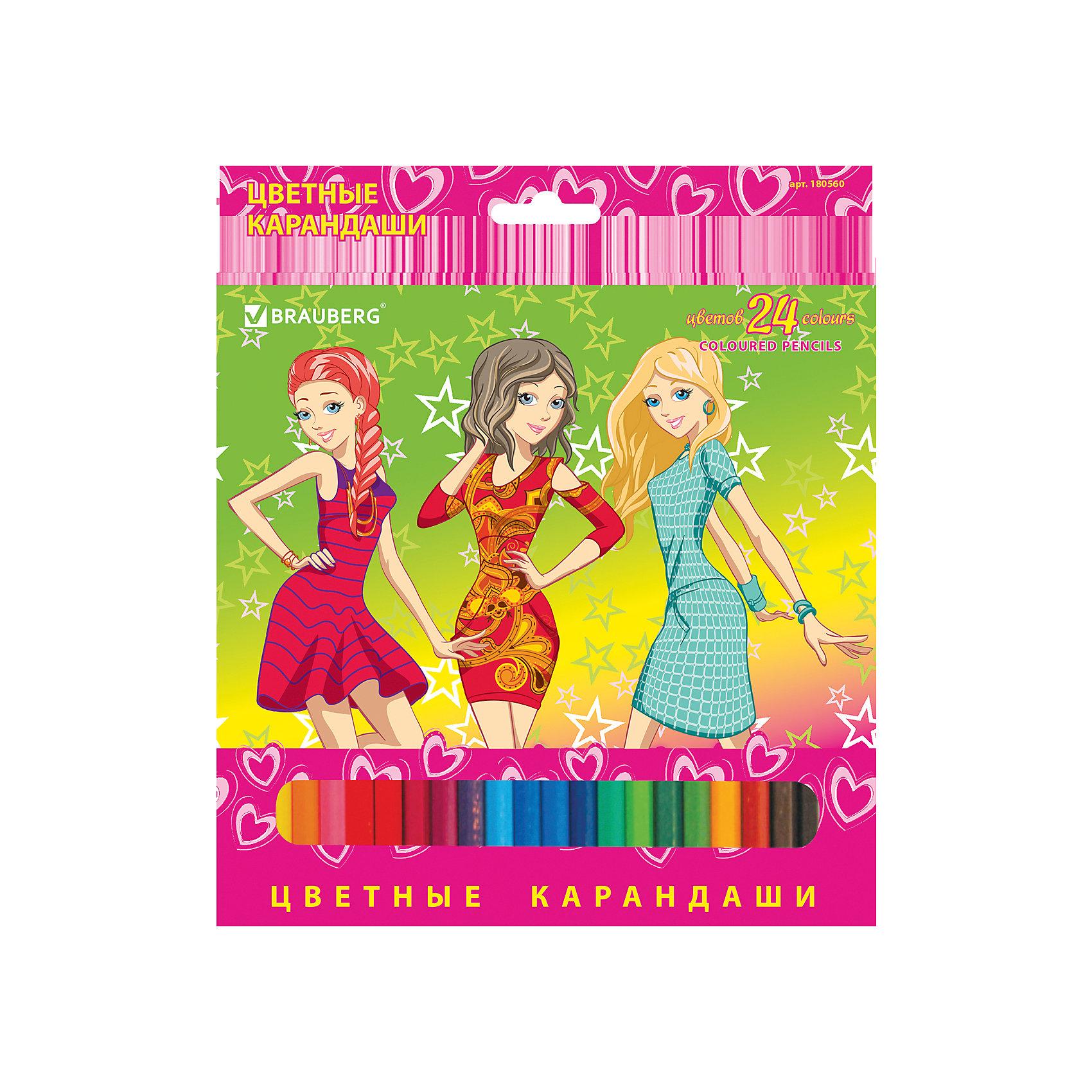 Цветные карандаши Pretty Girls, 24 цв., BraubergРисование<br>В наборе 24 карандаша, изготовленных из древесины ценных пород. Благодаря высококачественному грифелю, рисунок ляжет на бумагу густо, сплошной и четкой линией, при этом не крошась и не царапая бумагу. Изображение на упаковке имеет отделку блестками.<br>Такие яркие карандаши непременно понравятся Вашему ребенку!<br><br>Дополнительная информация: <br><br>- 24 цвета.<br>- Диаметр грифеля - 3 мм.<br>- Высокосортная древесина.<br>- Шестигранный корпус.<br>- Легко затачиваются.<br>- Размер упаковки: 20х18х0,8 см.<br>- Вес в упаковке: 175 г.<br><br>Цветные карандаши Pretty Girls Brauberg, можно купить в нашем магазине.<br><br>Ширина мм: 200<br>Глубина мм: 180<br>Высота мм: 8<br>Вес г: 175<br>Возраст от месяцев: 72<br>Возраст до месяцев: 2147483647<br>Пол: Унисекс<br>Возраст: Детский<br>SKU: 4792668